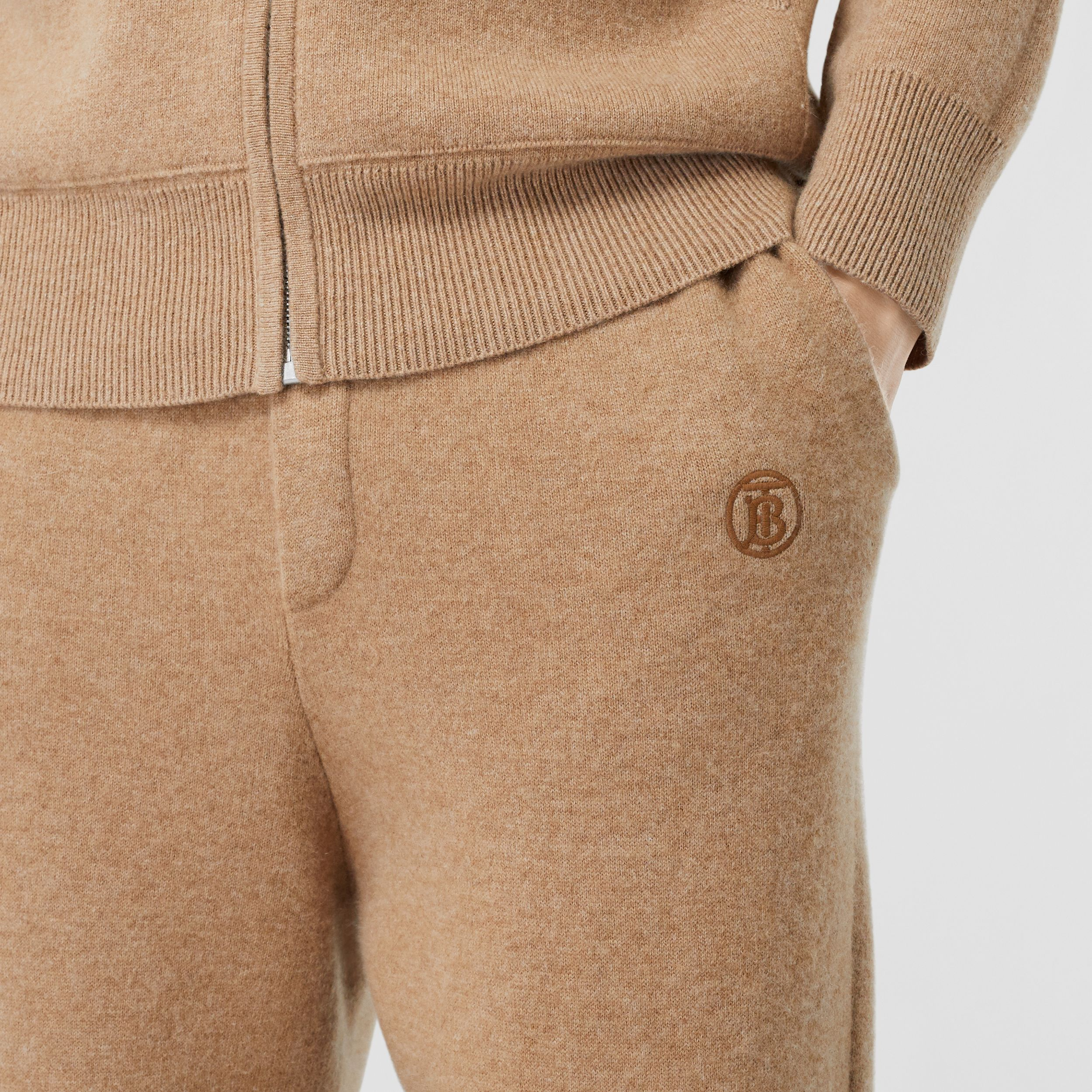 Monogram Motif Cashmere Blend Jogging Pants in Pale Coffee - Men | Burberry - 2