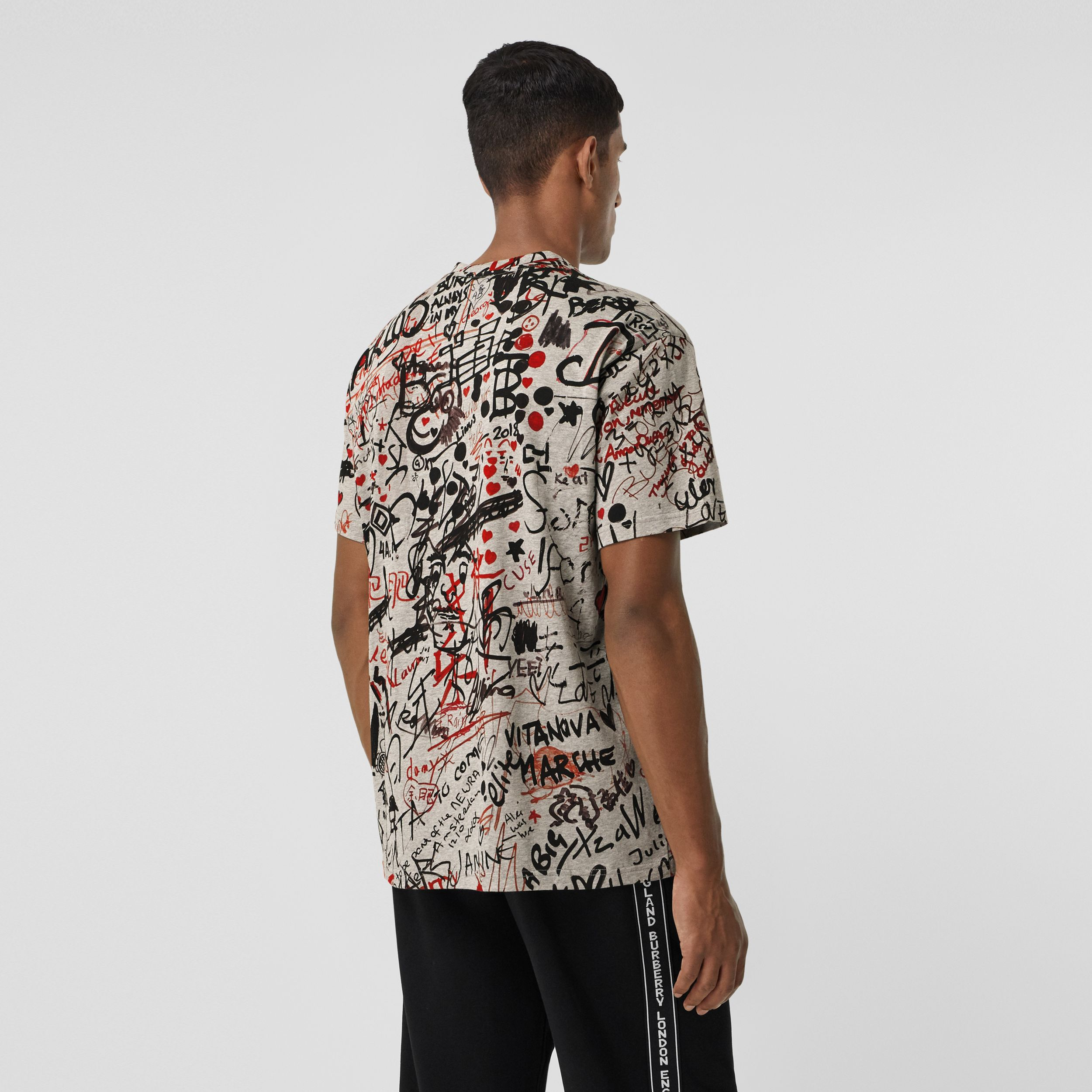 Graffiti Print Oversized T-shirt in Pale Grey Melange - Men | Burberry - 3