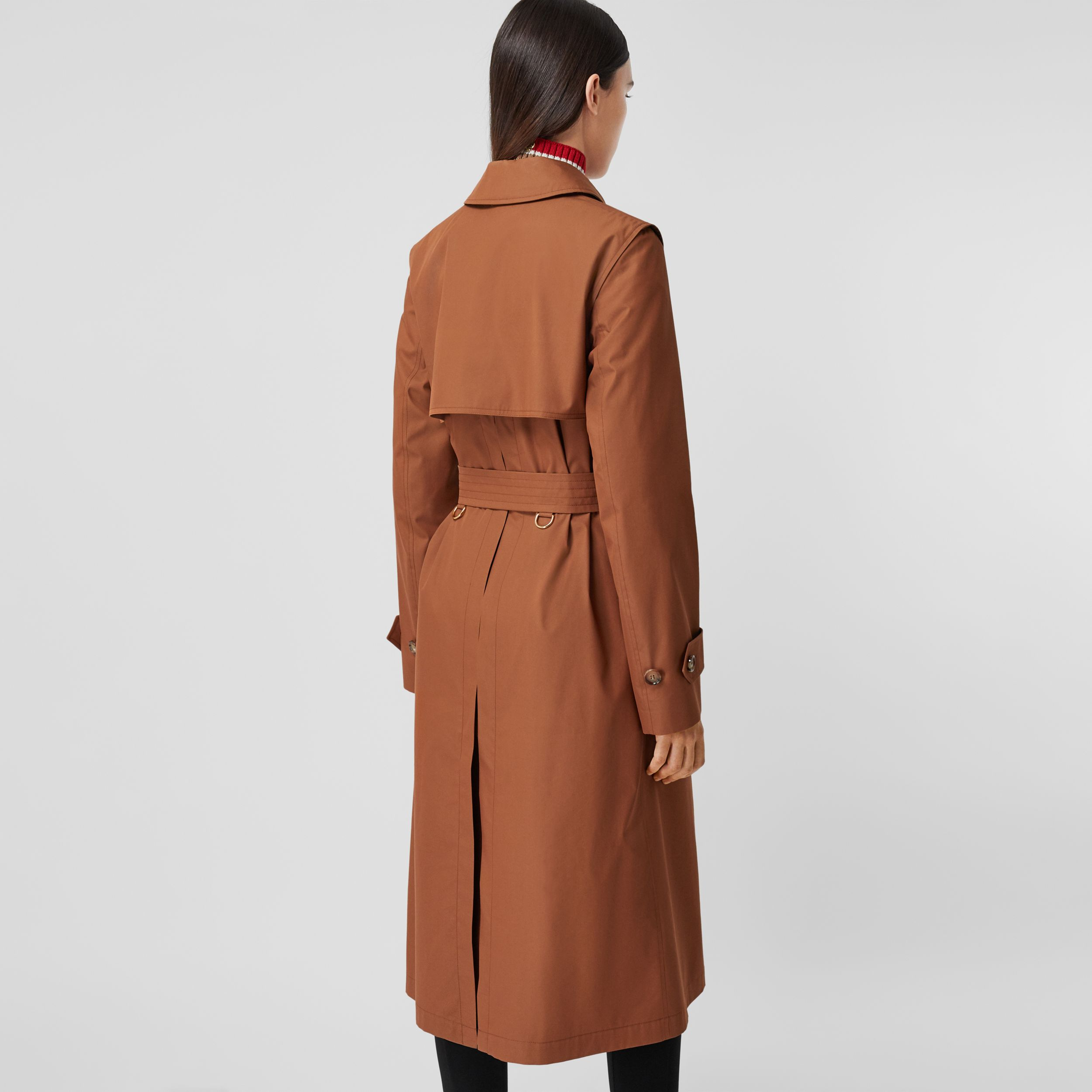 Technical Cotton Gabardine Trench Coat in Chestnut Brown - Women | Burberry - 3