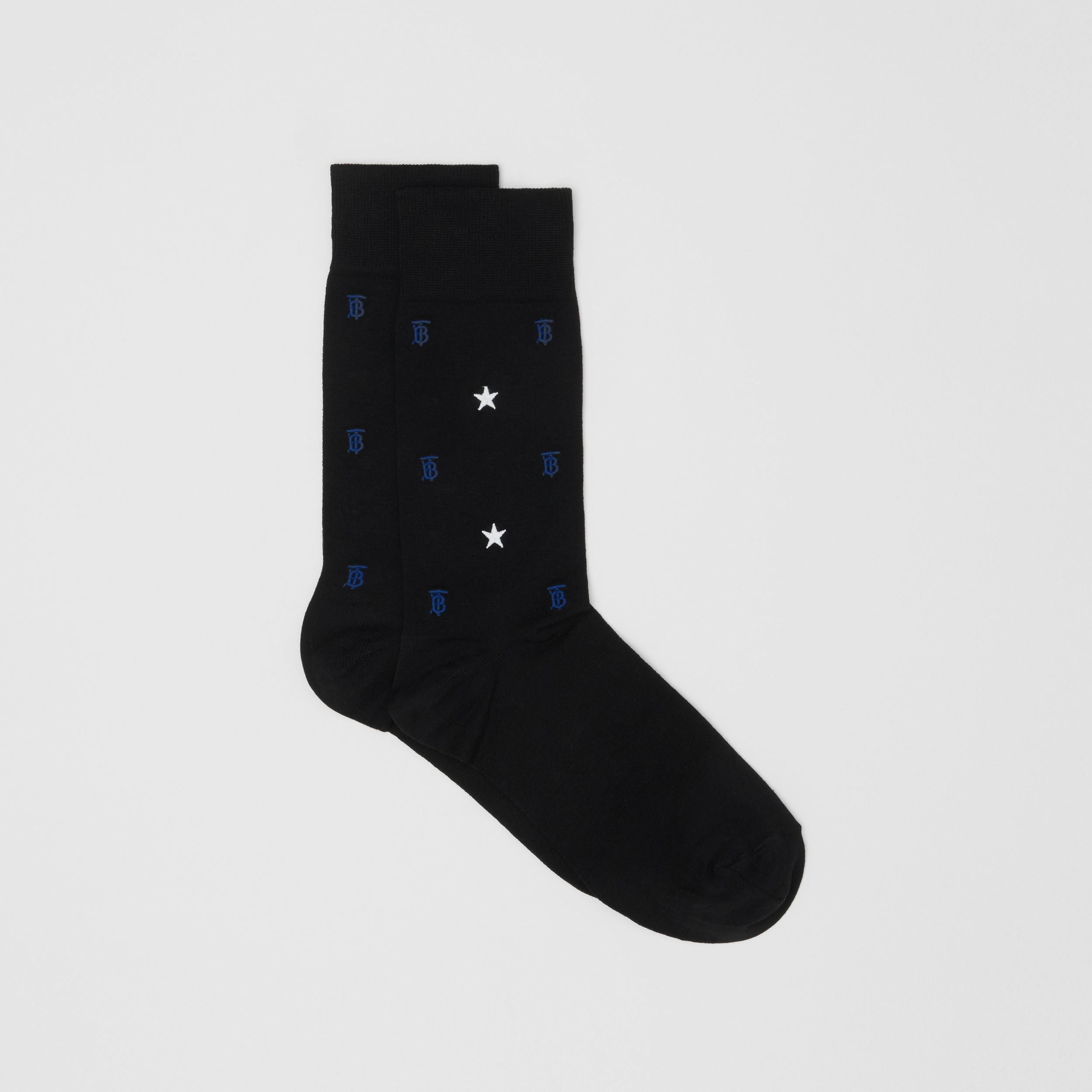 Star and Monogram Motif Cotton Blend Socks in Black | Burberry - 3