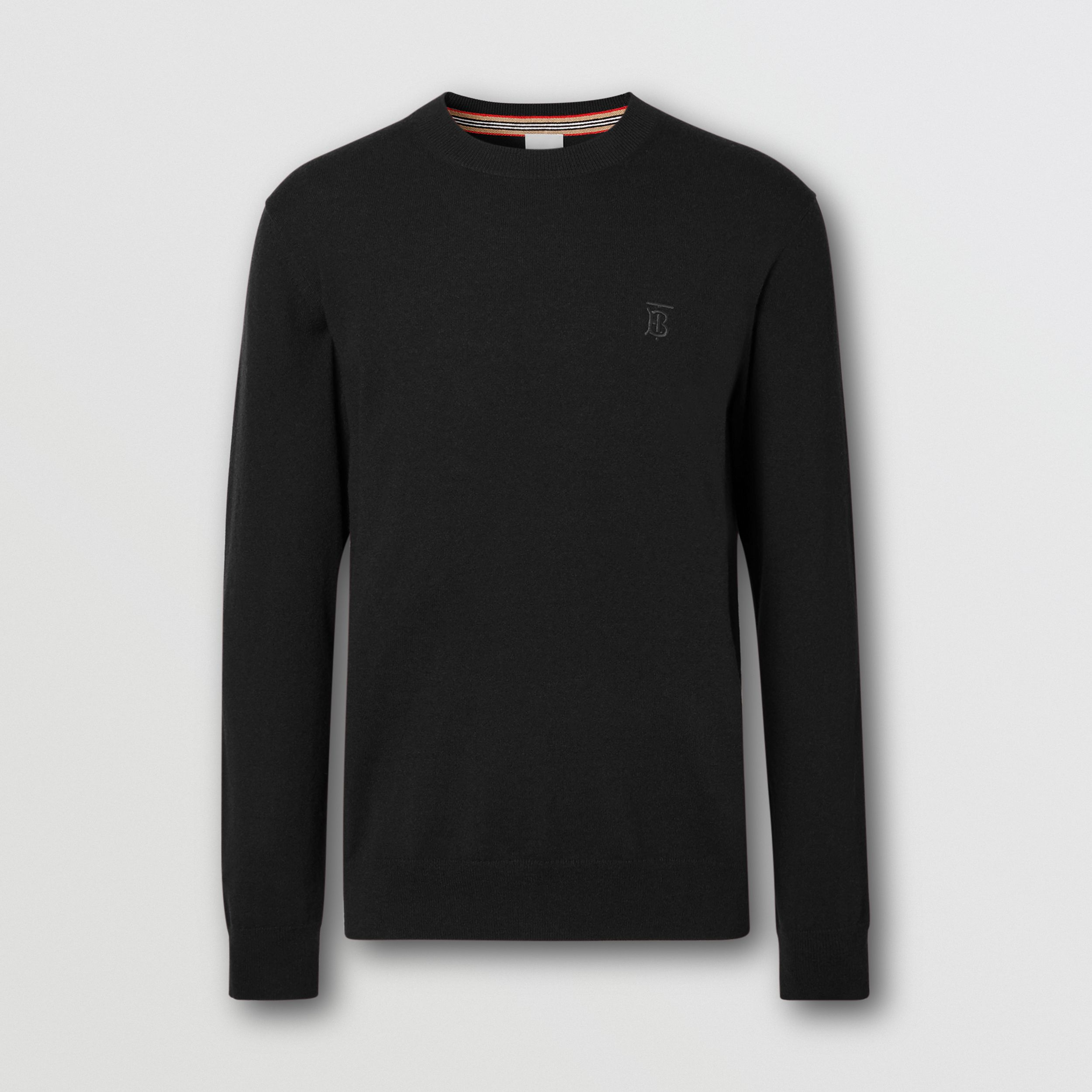 Monogram Motif Cashmere Sweater in Black - Men | Burberry Australia - 4