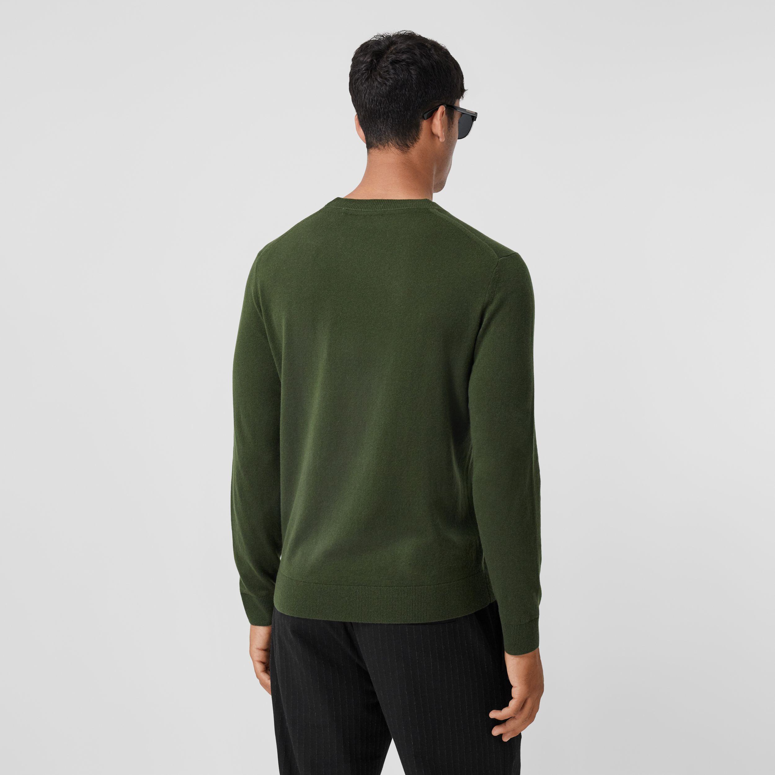 Monogram Motif Cashmere Sweater in Deep Khaki - Men | Burberry - 3