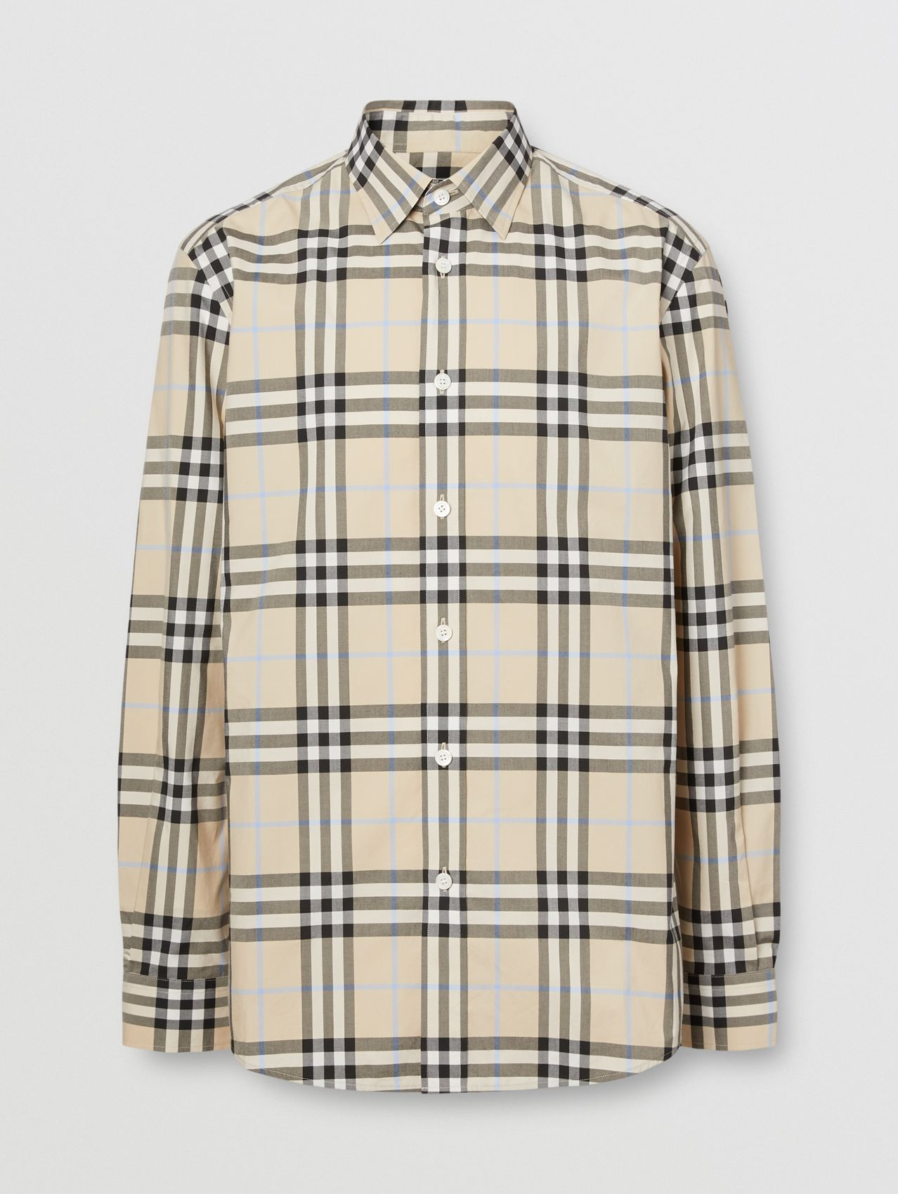 Check Cotton Poplin Shirt in Light Almond