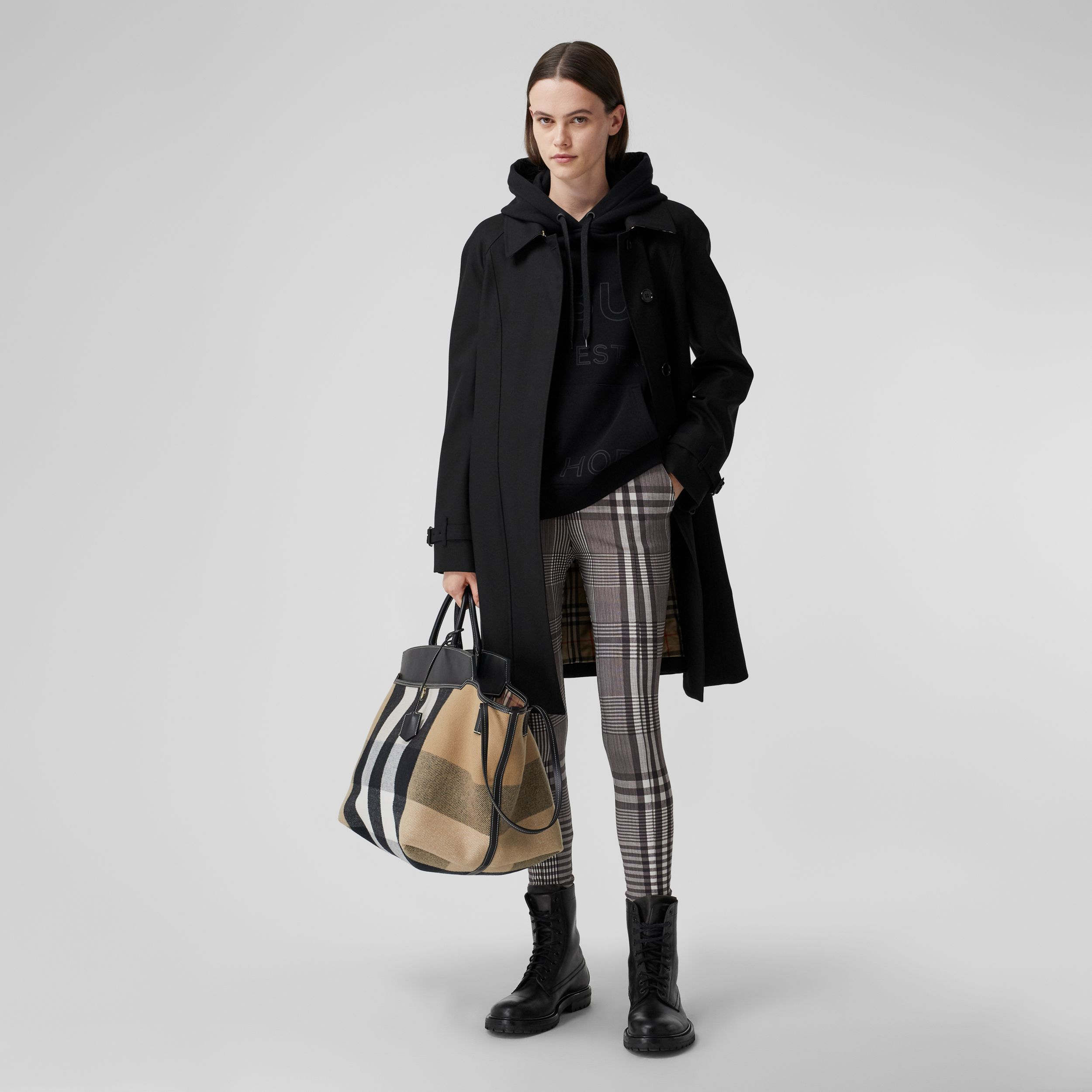 Cotton Gabardine Belted Swing Coat in Black - Women | Burberry United States - 1