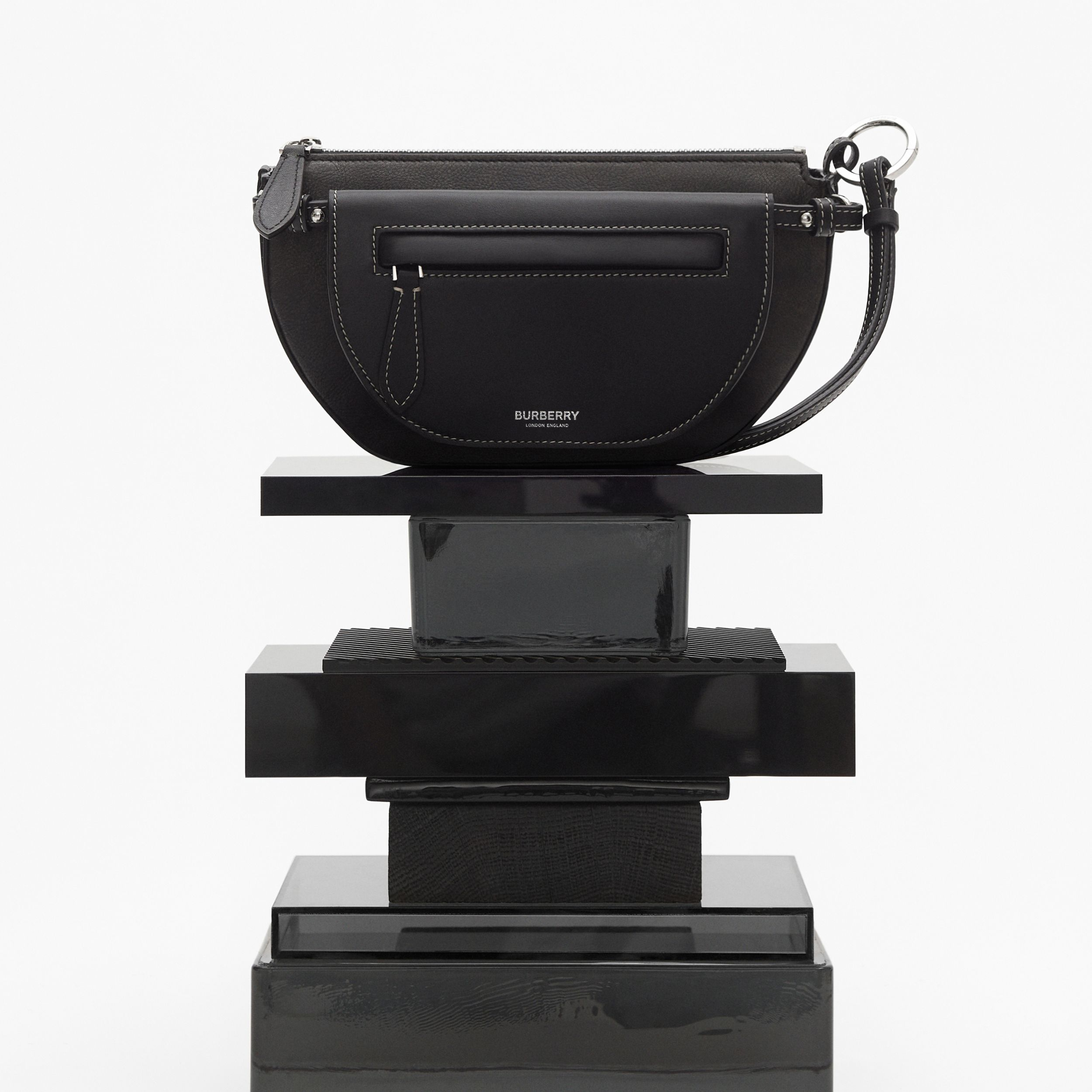 Mini Leather Double Olympia Bag in Black - Women | Burberry - 3