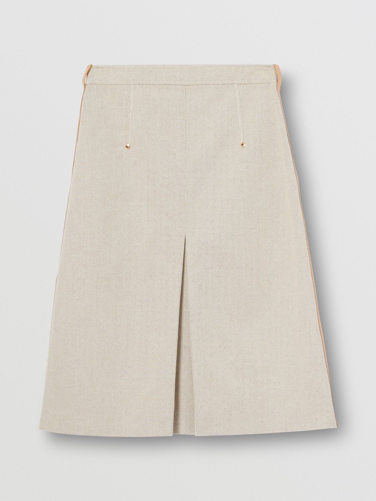 Box-pleat Detail Cotton Canvas A-line Skirt in Soft Fawn Melange
