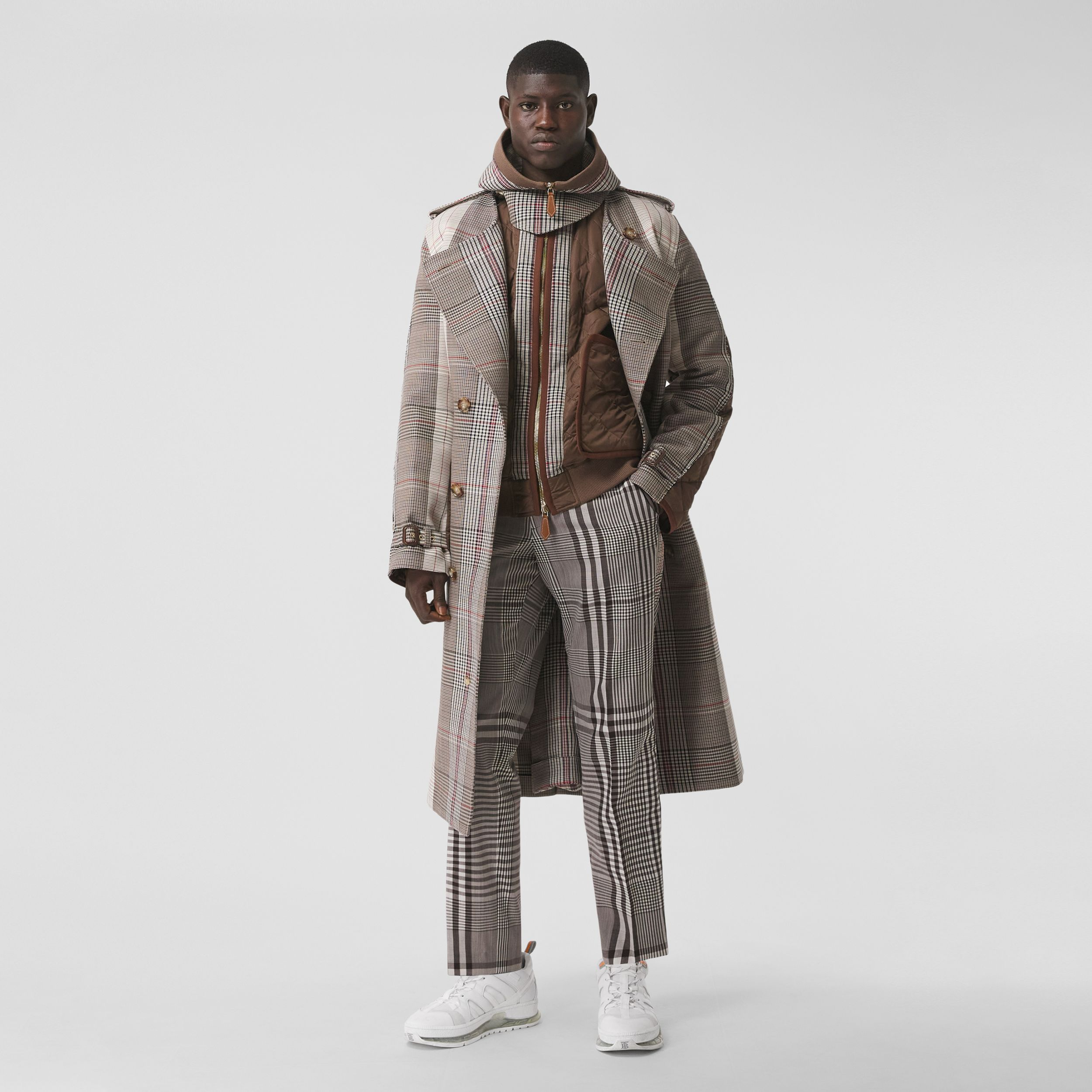 Check Technical Wool Tailored Trousers in Dark Brown | Burberry - 1