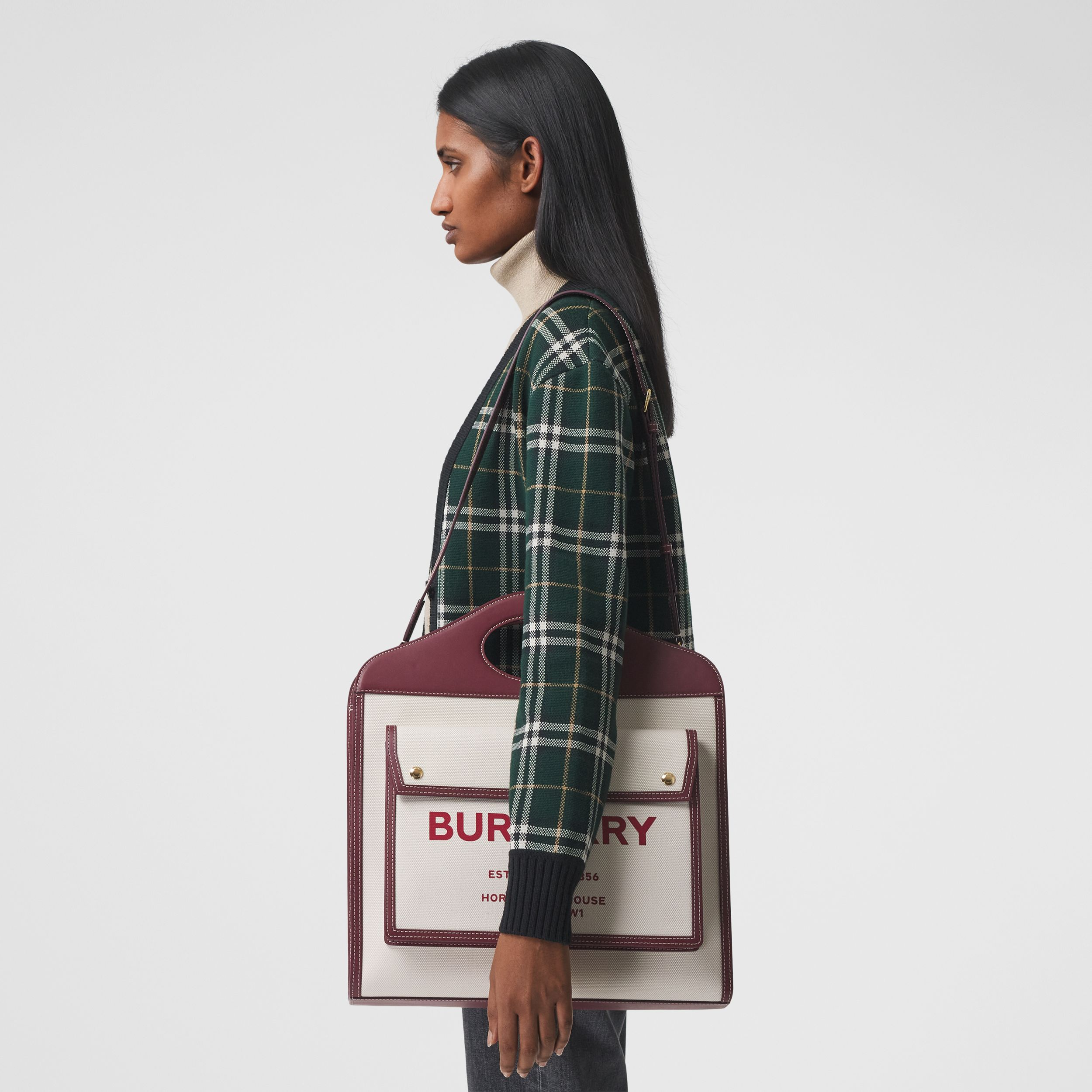 Medium Two-tone Canvas and Leather Pocket Bag in Natural/garnet - Women | Burberry - 3