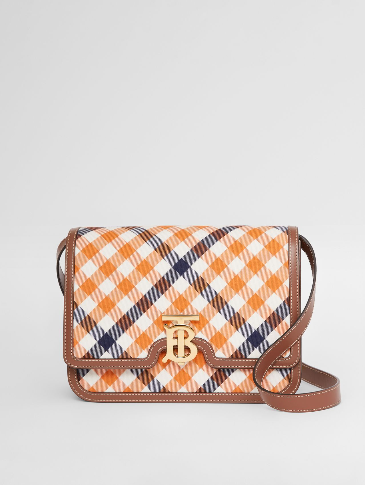 Medium Gingham Wool Cotton and Leather TB Bag in Bright Orange