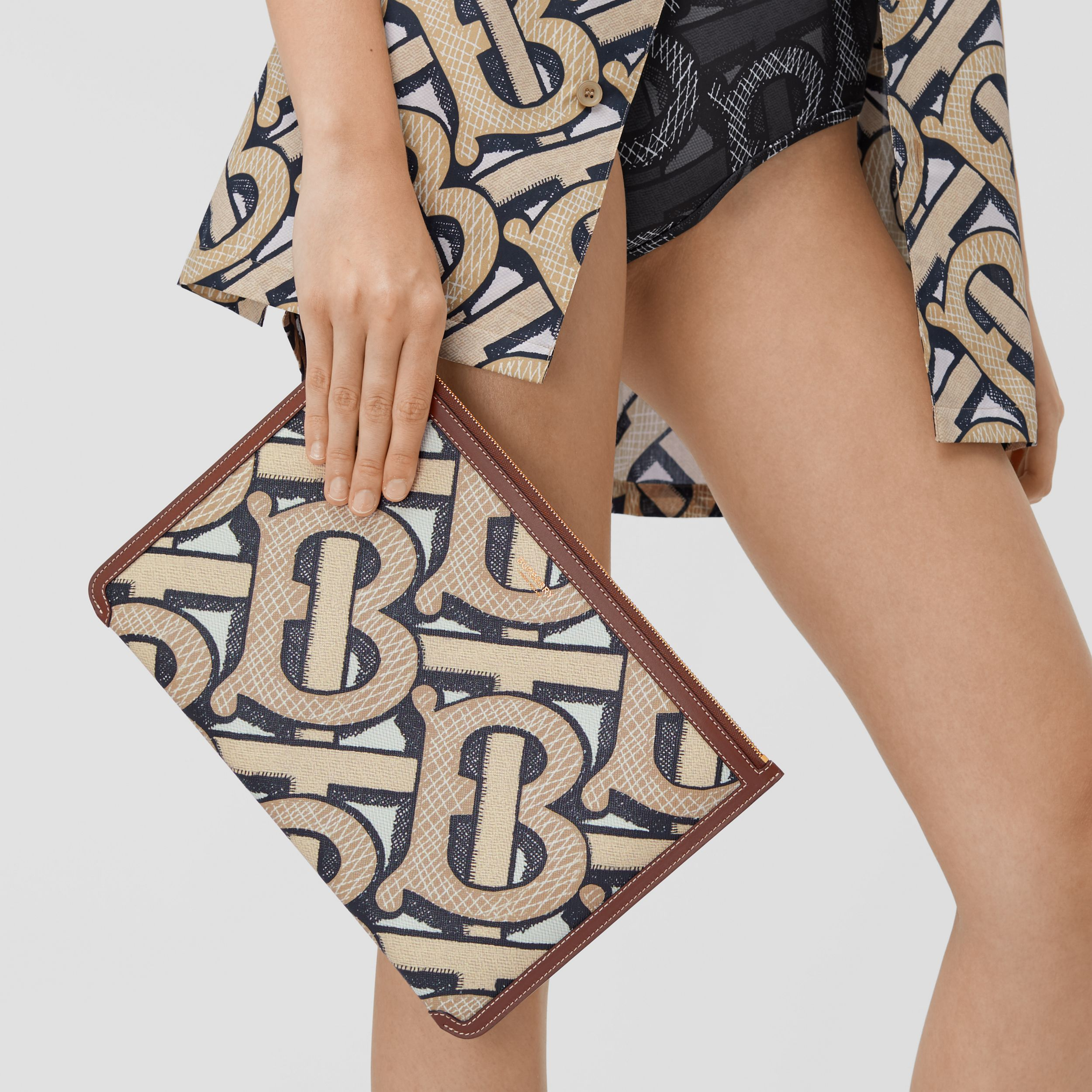 Monogram Print E-canvas and Leather Pouch in Dark Beige - Women | Burberry - 3