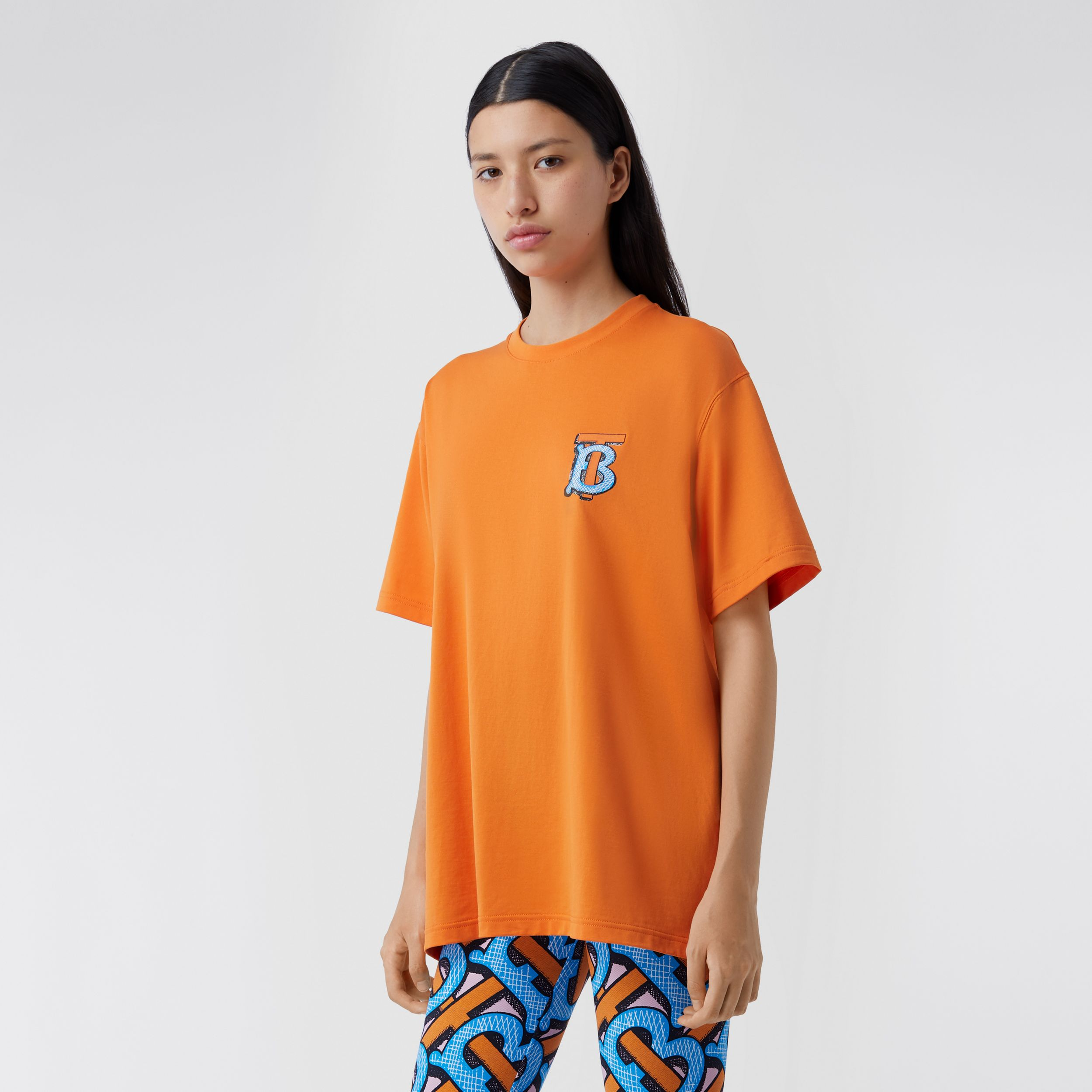 Monogram Motif Cotton T-shirt – Unisex in Bright Orange | Burberry - 2