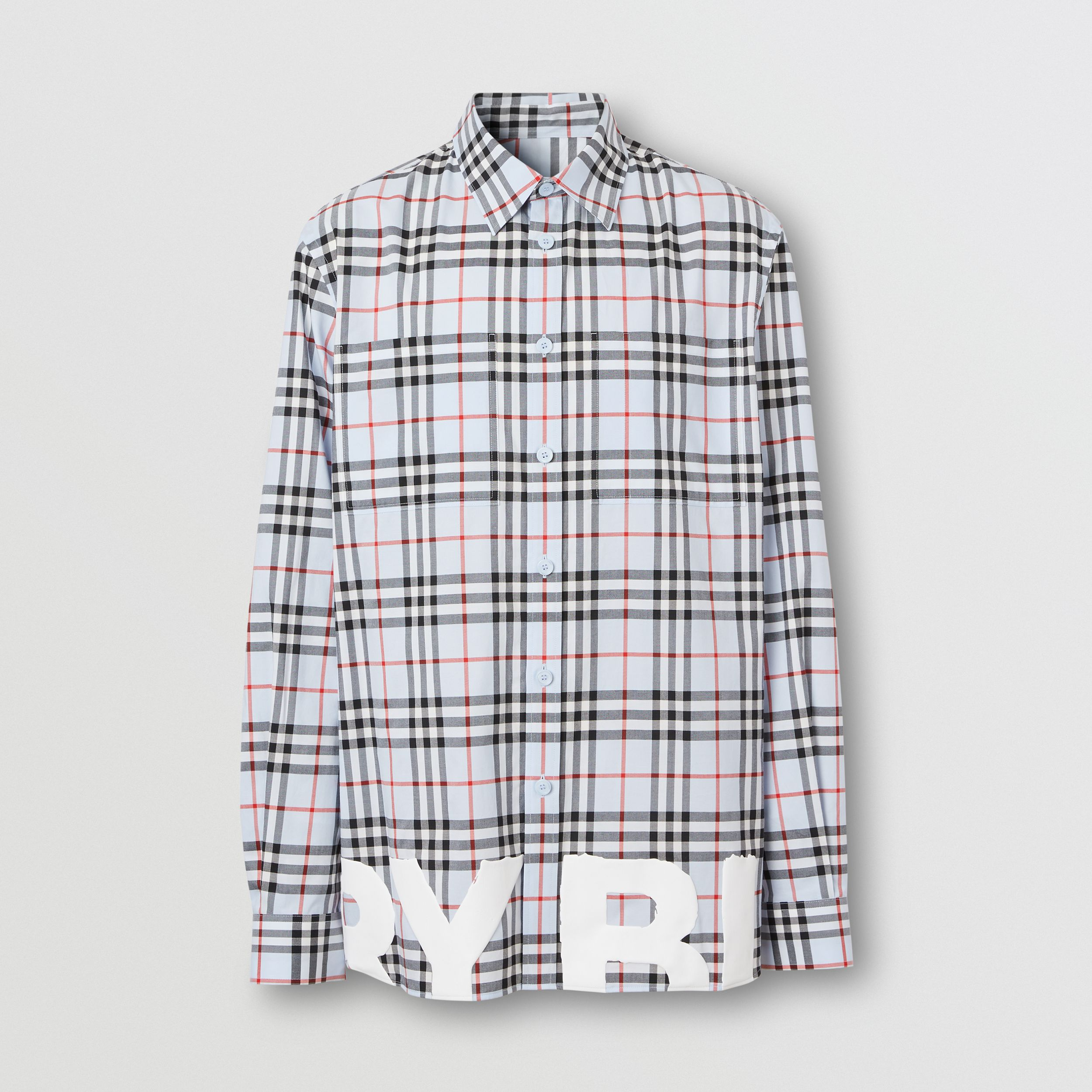 Logo Print Vintage Check Cotton Oversized Shirt – Online Exclusive in Pale Blue - Men | Burberry United Kingdom - 4