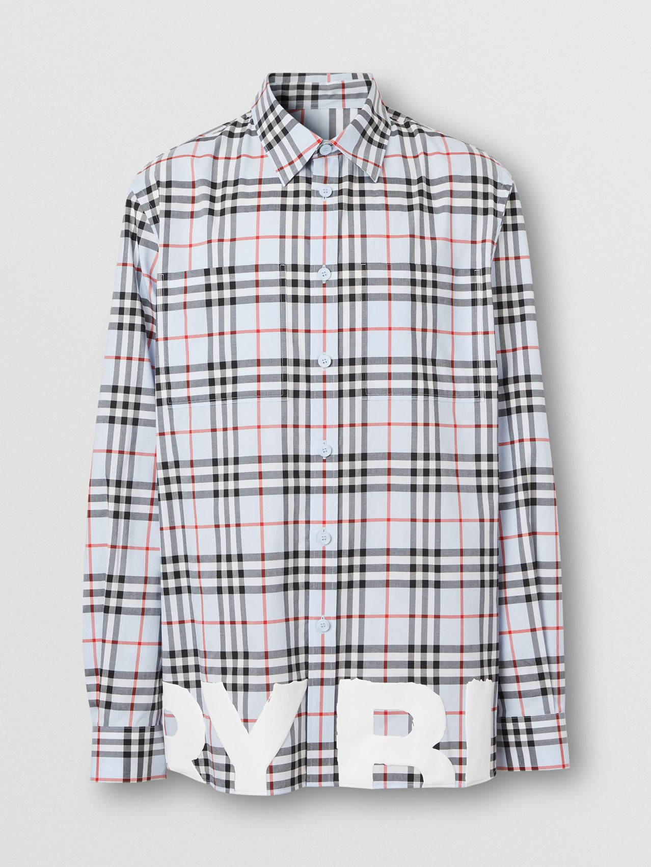 Logo Print Vintage Check Cotton Oversized Shirt – Online Exclusive in Pale Blue