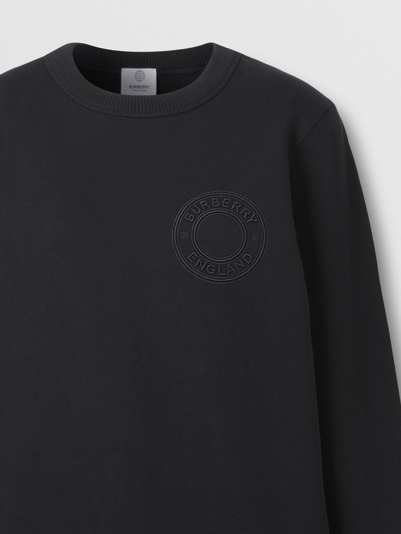 Logo Graphic Cotton Oversized Sweatshirt in Black