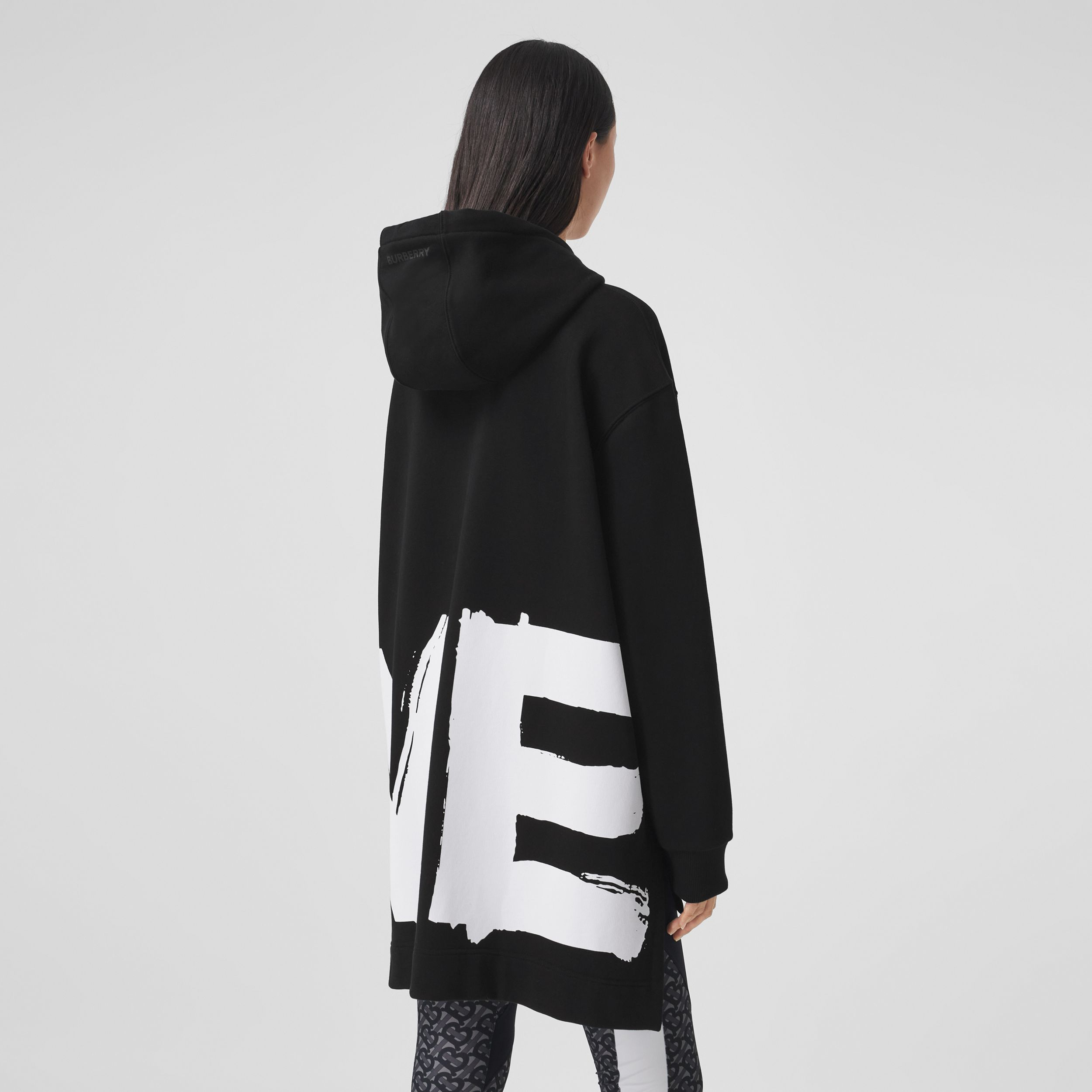 Love Print Cotton Oversized Hoodie in Black - Women | Burberry - 3