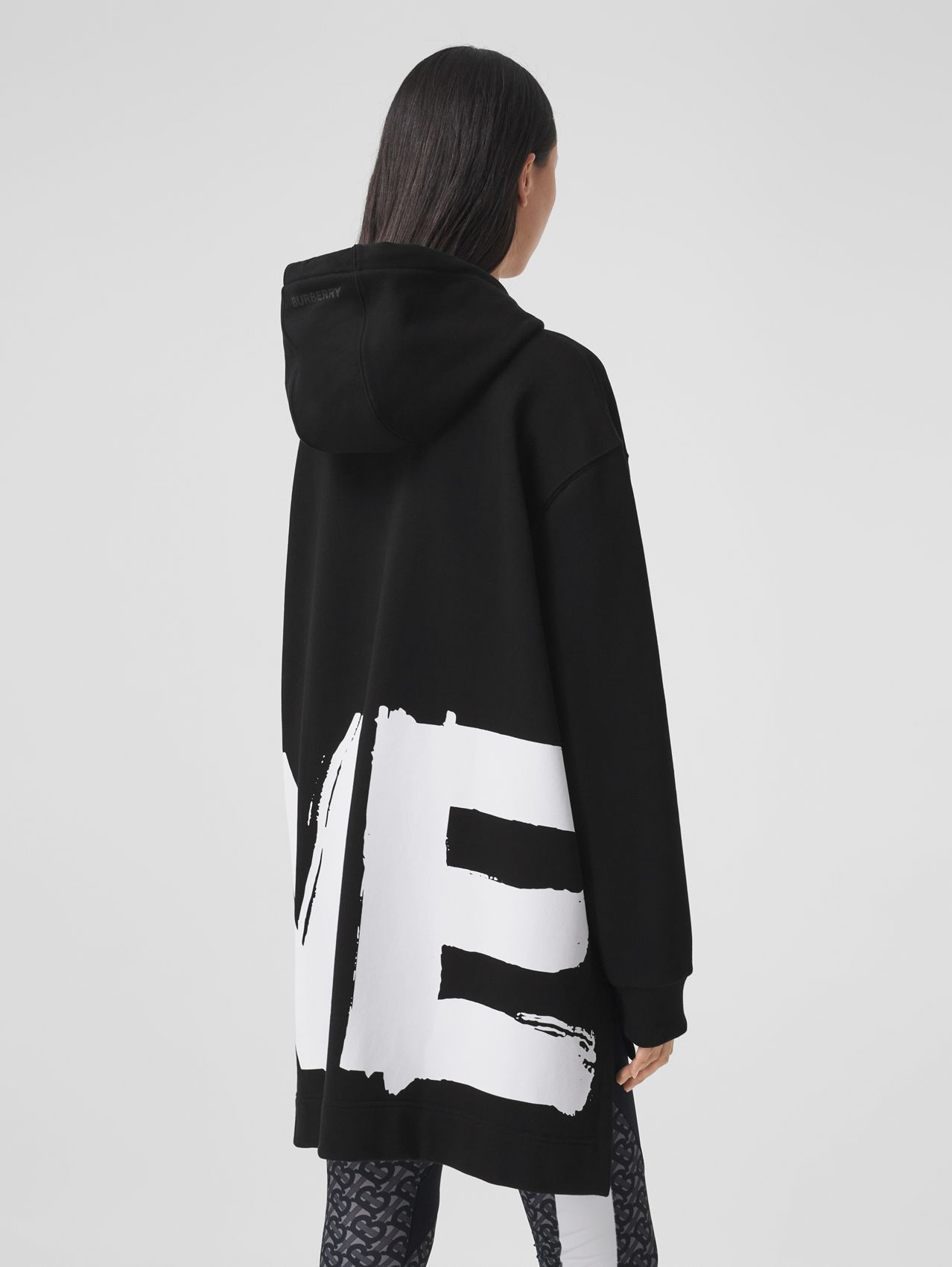 Love Print Cotton Oversized Hoodie in Black