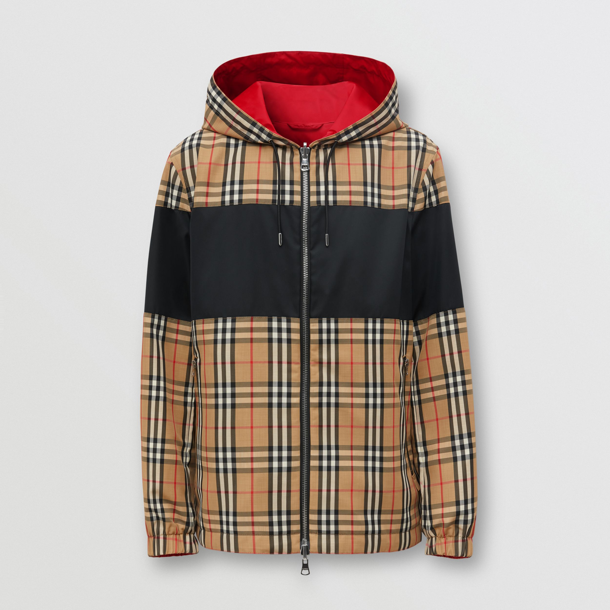 Reversible Vintage Check and ECONYL® Hooded Jacket in Archive Beige - Men | Burberry Canada - 1