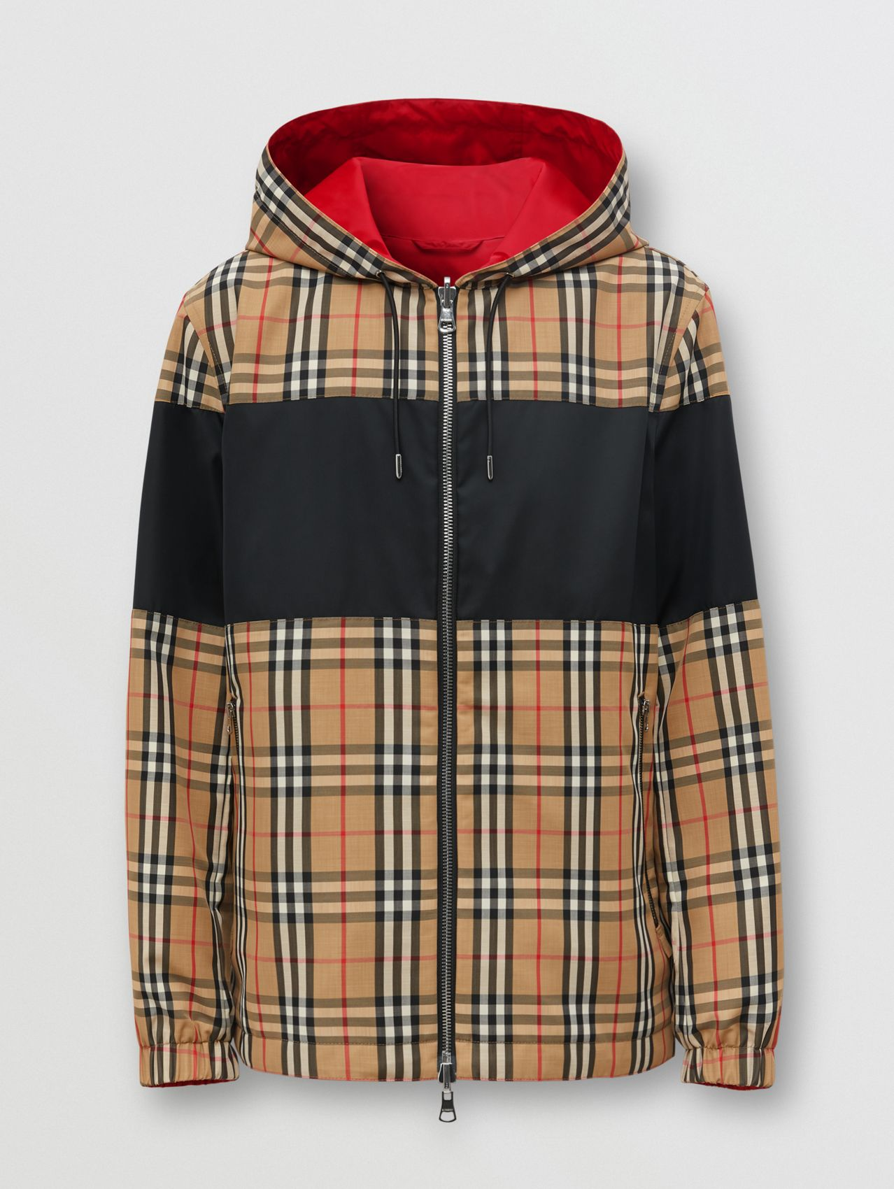 Reversible Vintage Check and ECONYL® Hooded Jacket in Archive Beige