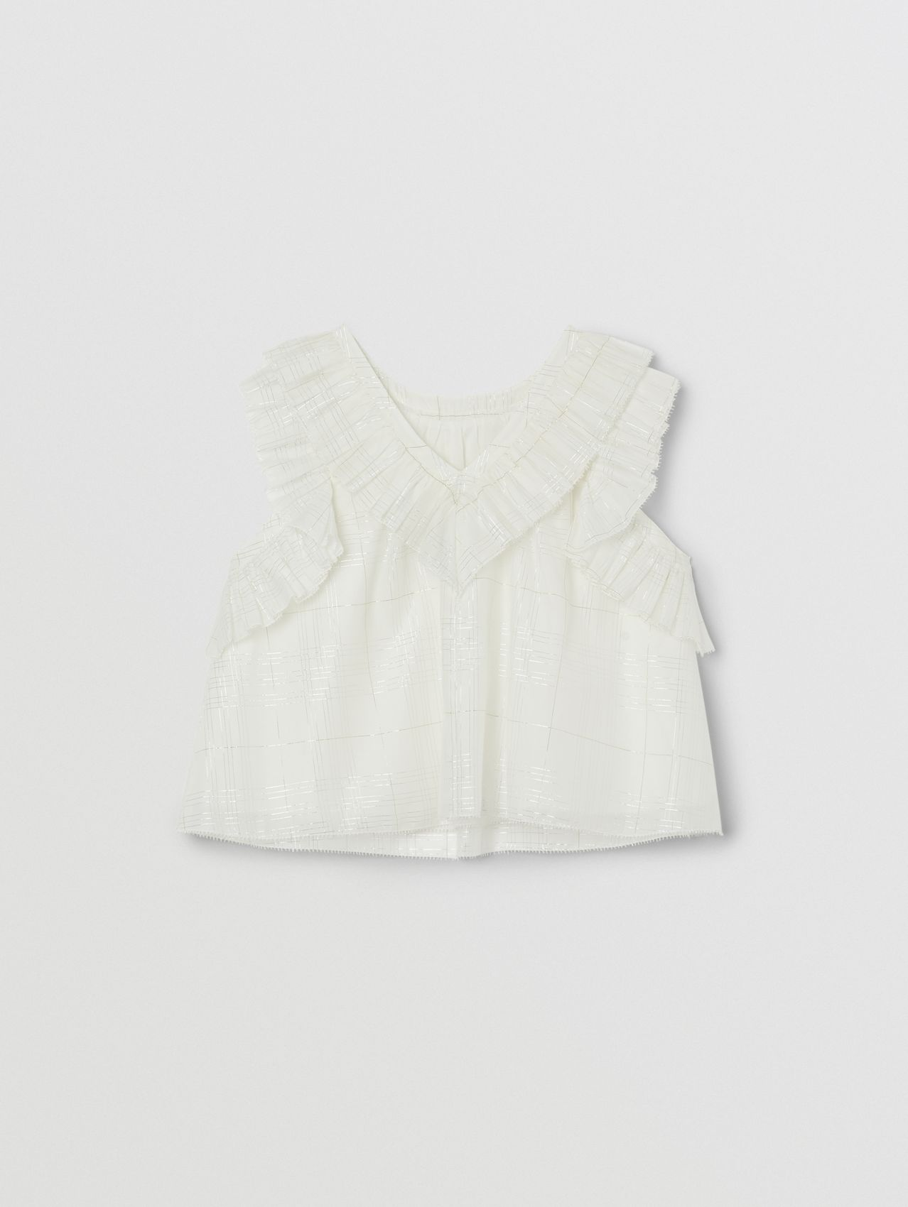 Ruffled Cotton Silk Sleeveless Top in White