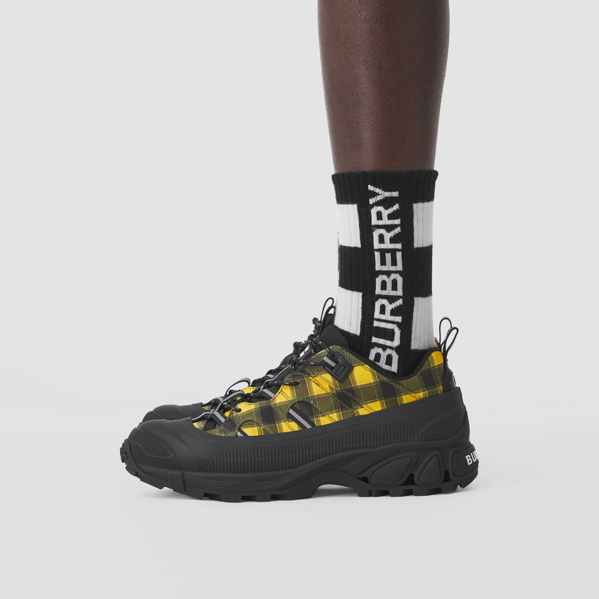 Check Technical Arthur Sneakers in Yellow | Burberry - 2