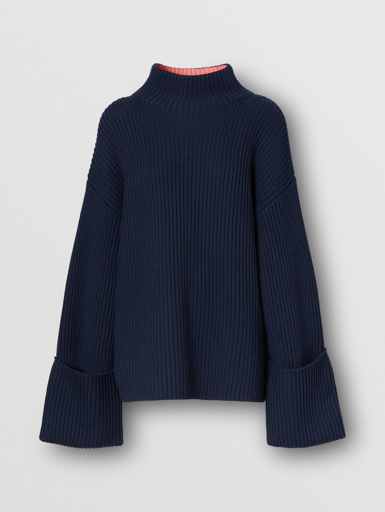Rib Knit Cotton Cashmere Oversized Sweater in Ink Blue