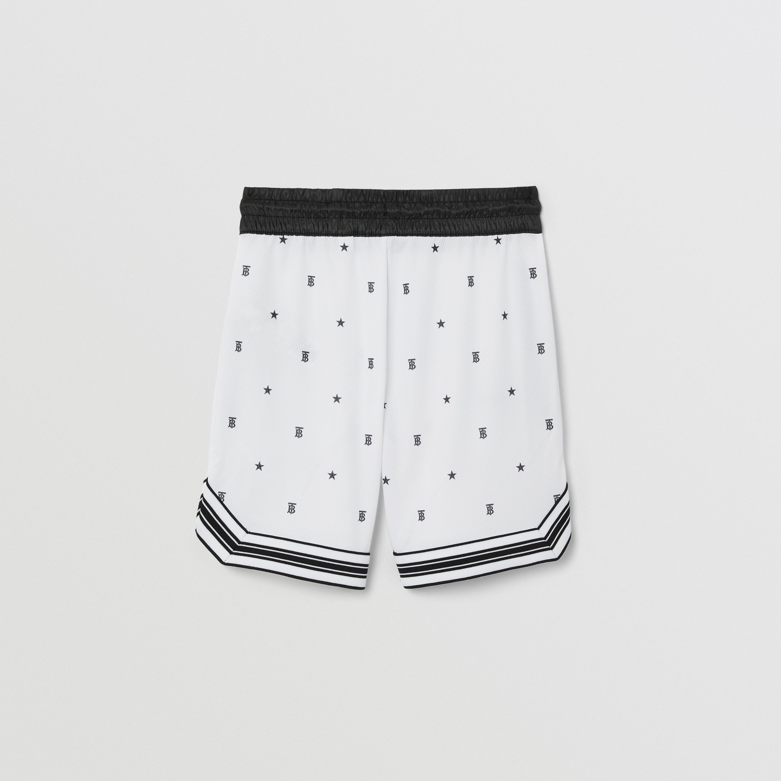 Star and Monogram Motif Jersey Mesh Shorts in Black | Burberry - 4