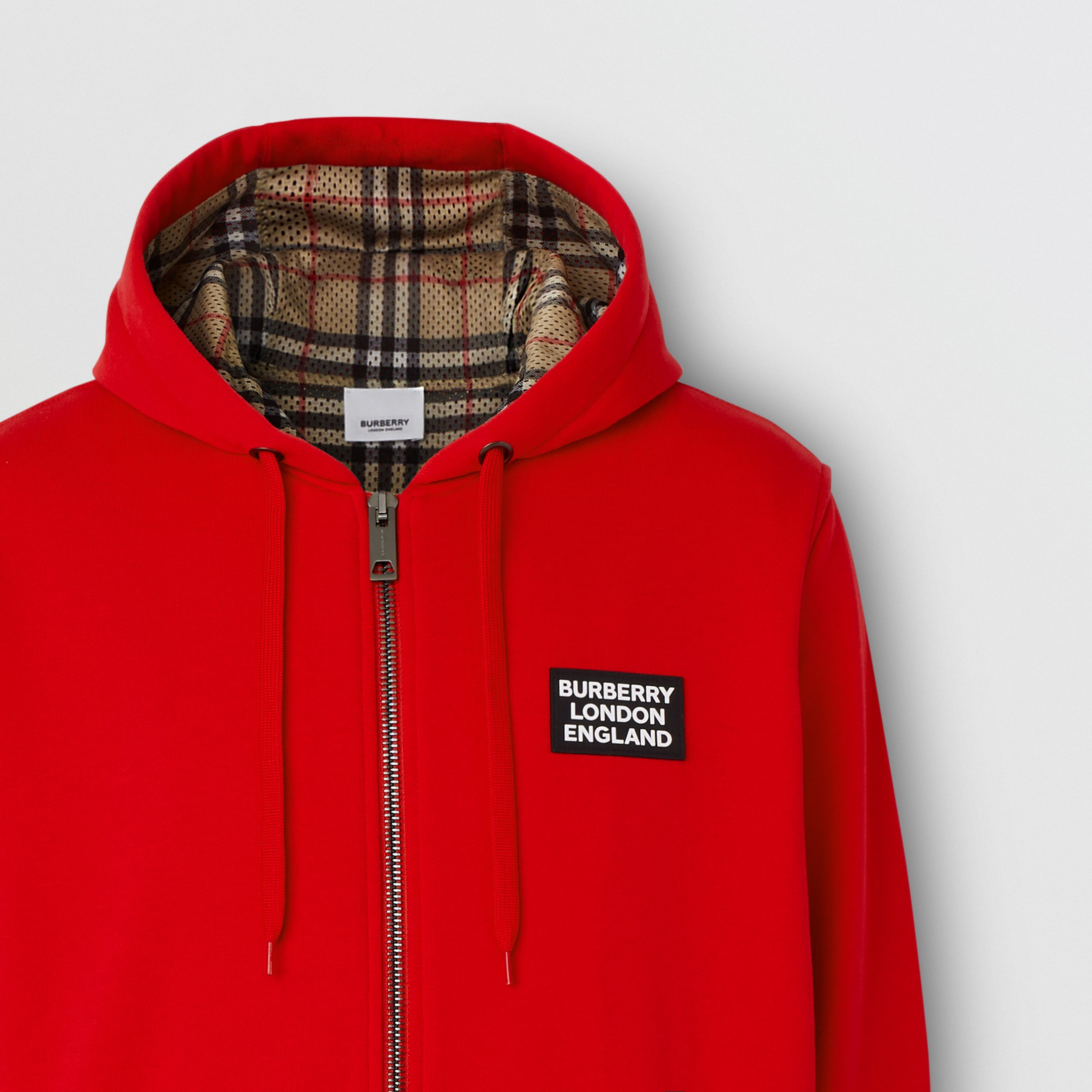 Logo Appliqué Cotton Hooded Top in Bright Red - Men | Burberry Hong Kong S.A.R. - 3
