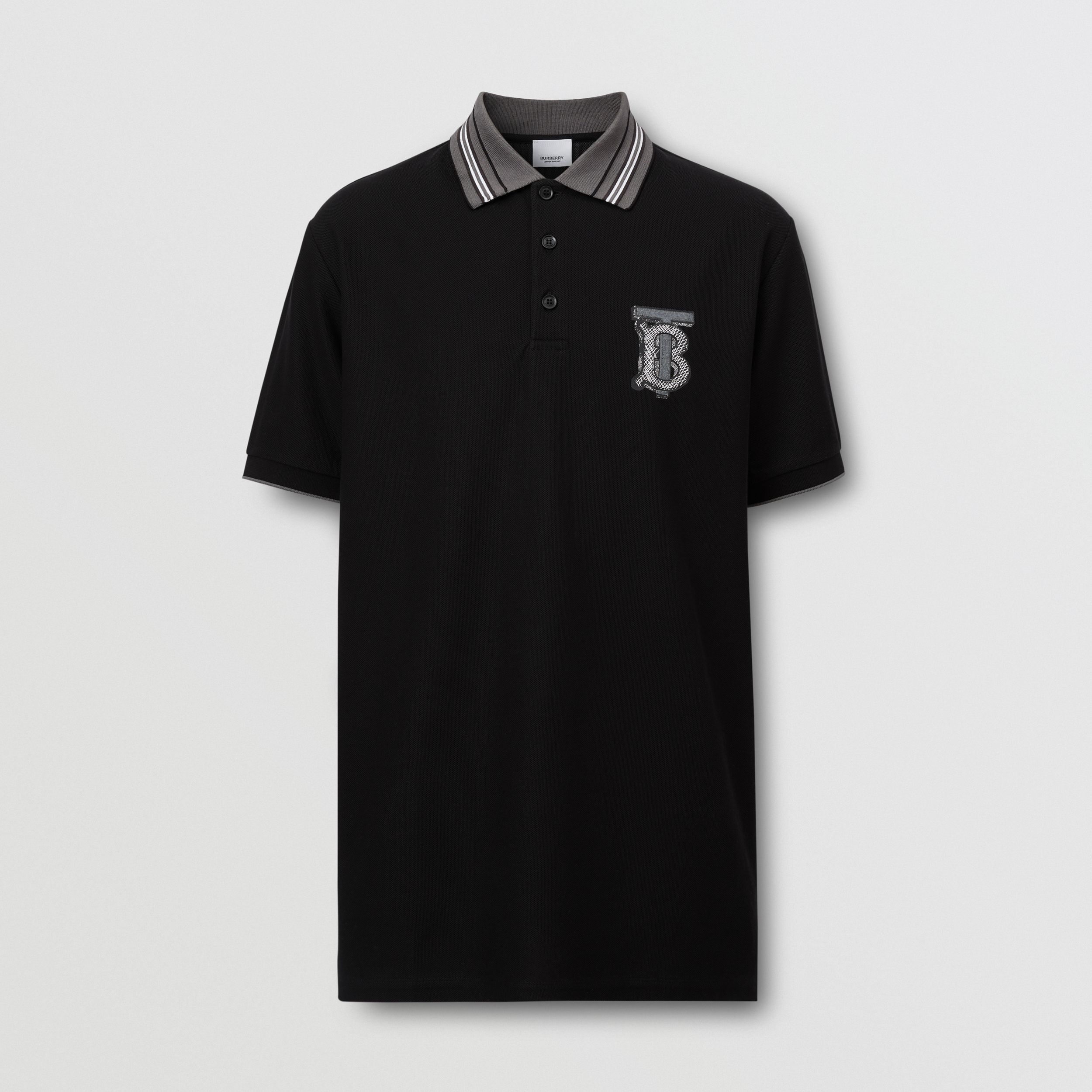 Monogram Motif Cotton Piqué Polo Shirt – Unisex in Black | Burberry - 1