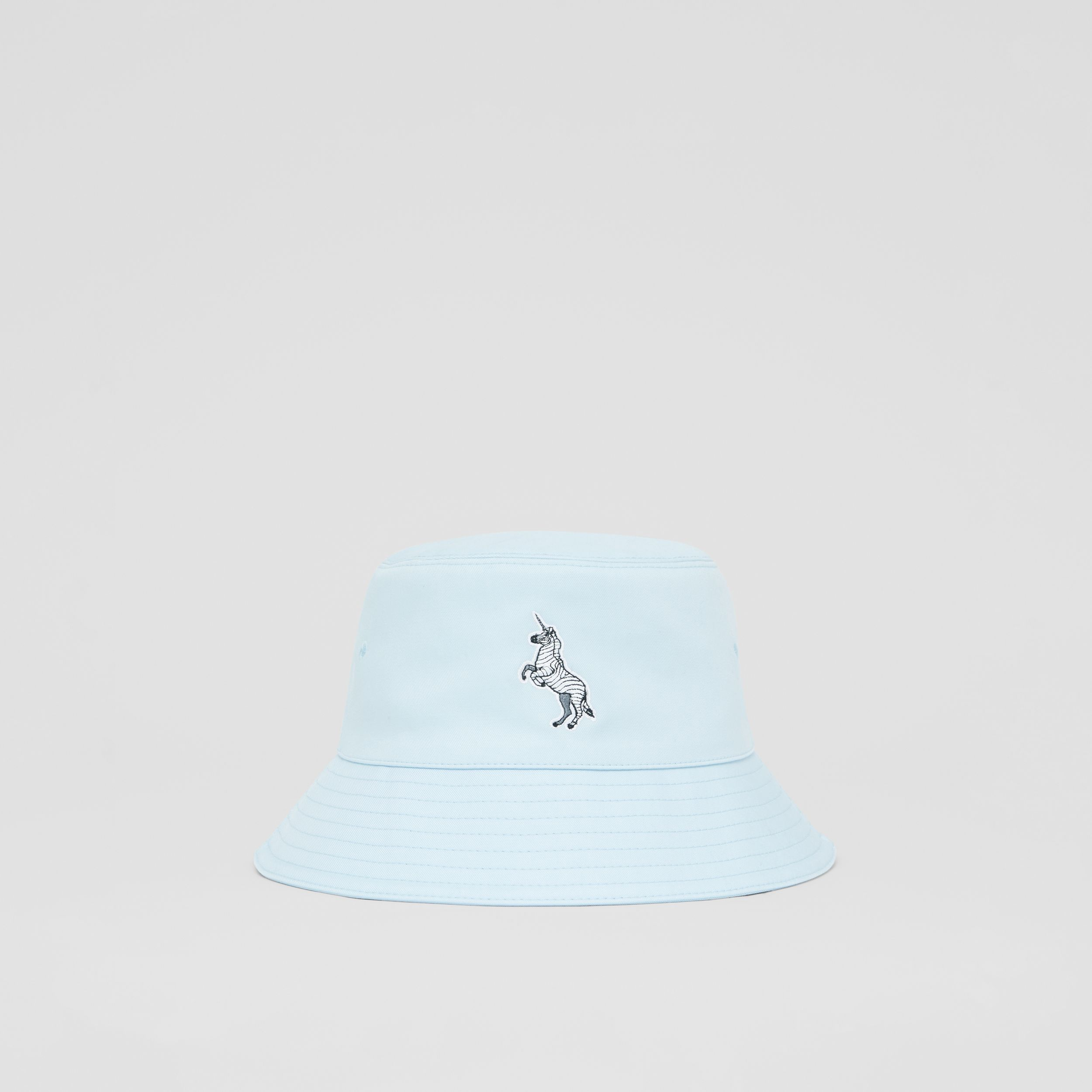 Zebra Appliqué Cotton Twill Bucket Hat in Pale Blue | Burberry - 1