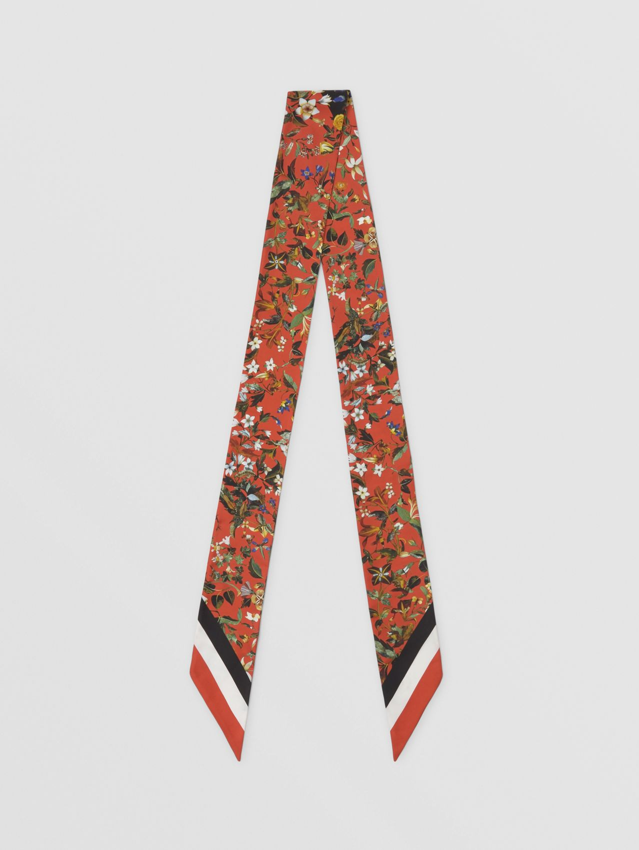 Floral Print Silk Skinny Scarf in Multicolour