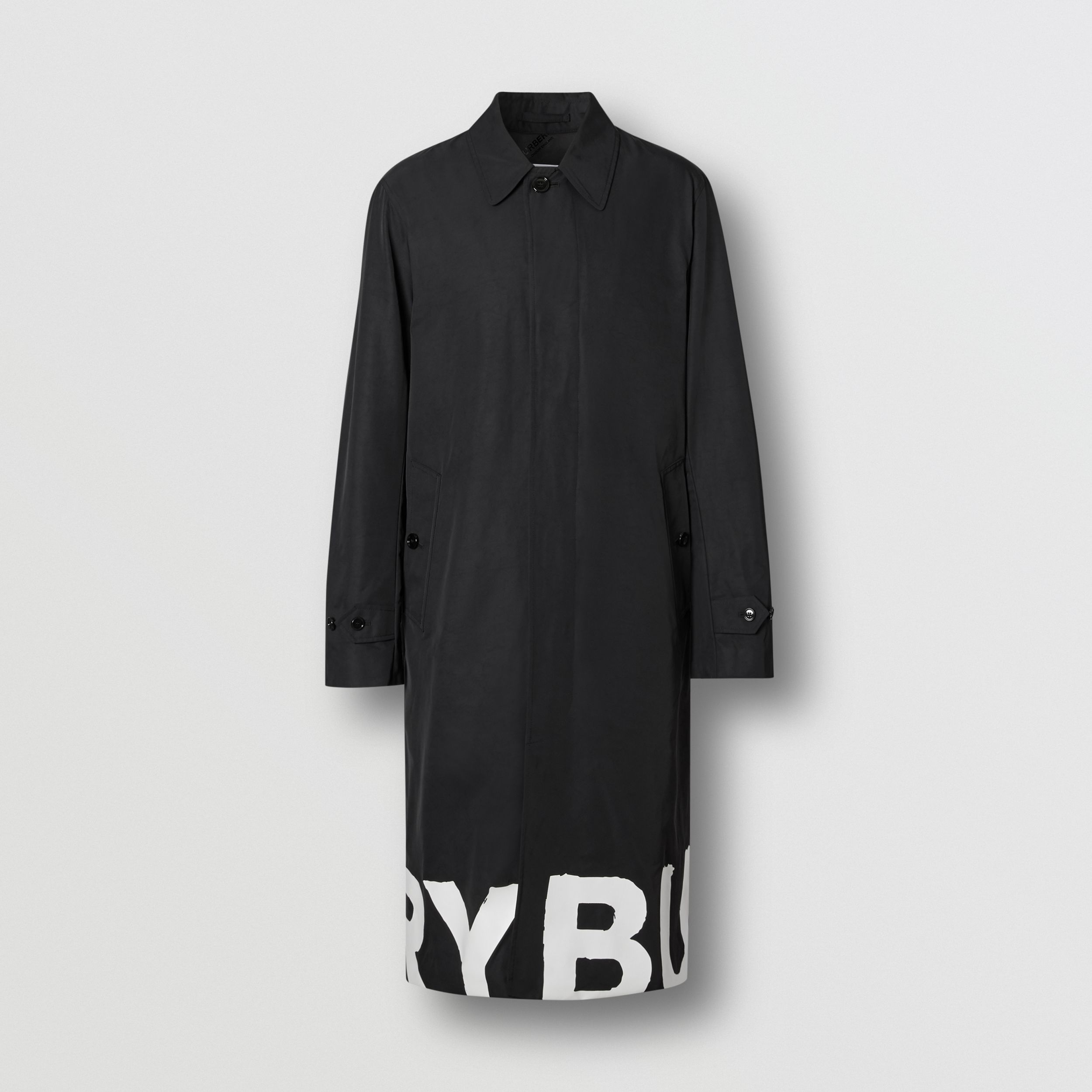 Logo Print Nylon Car Coat in Black - Men | Burberry - 4