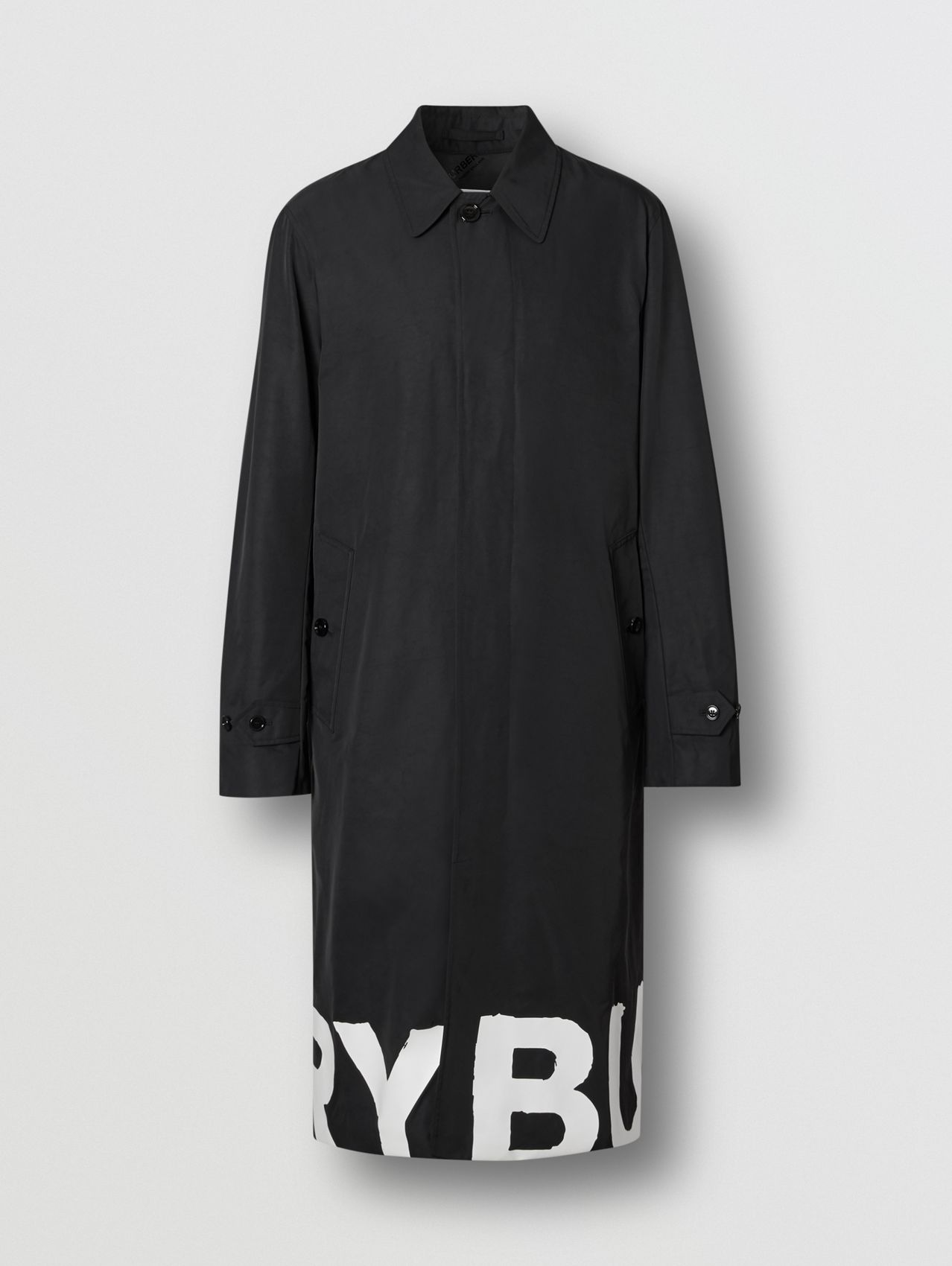 Logo Print Nylon Car Coat in Black