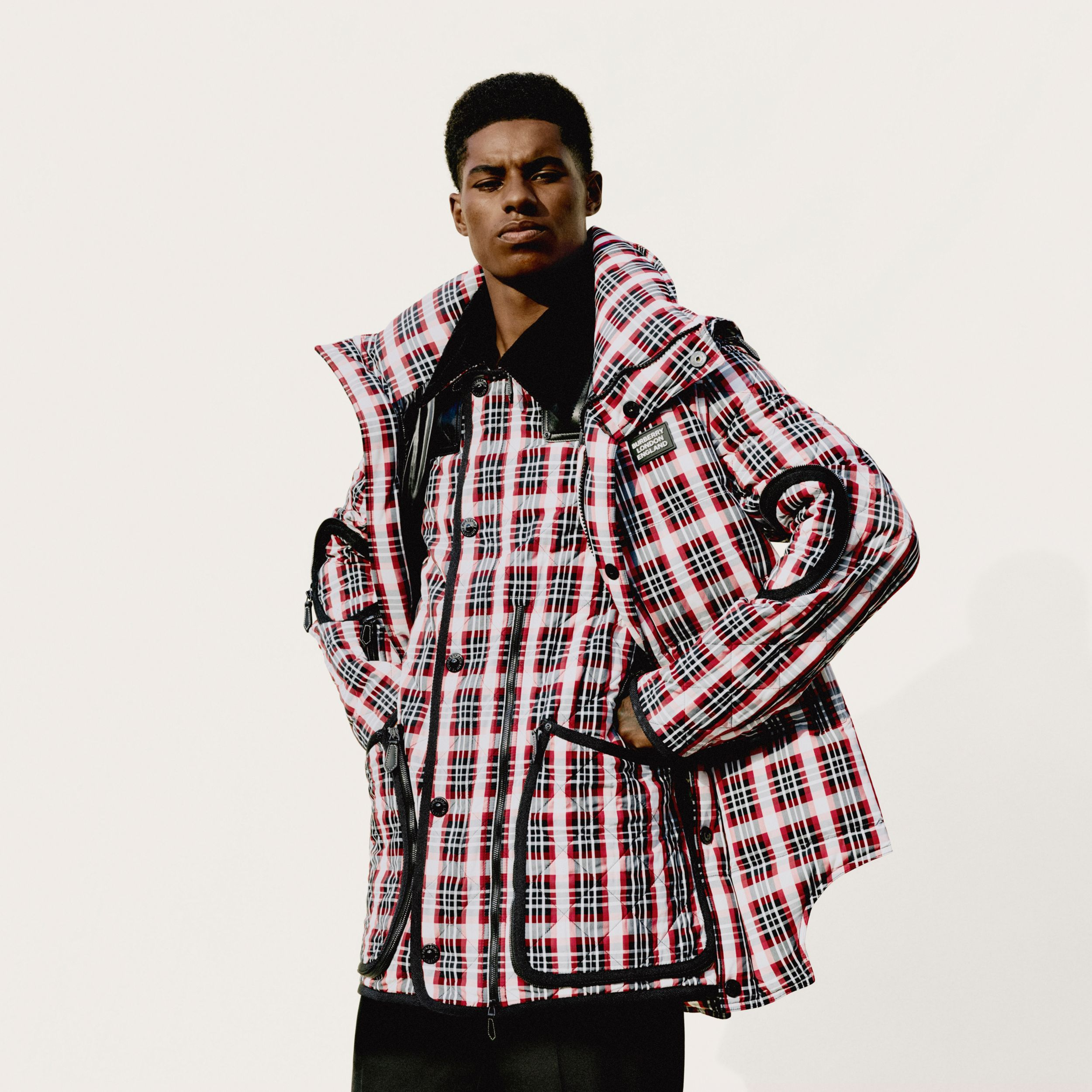 Cut-out Hem Diamond Quilted Check Nylon Parka in Bright Red - Men | Burberry - 2