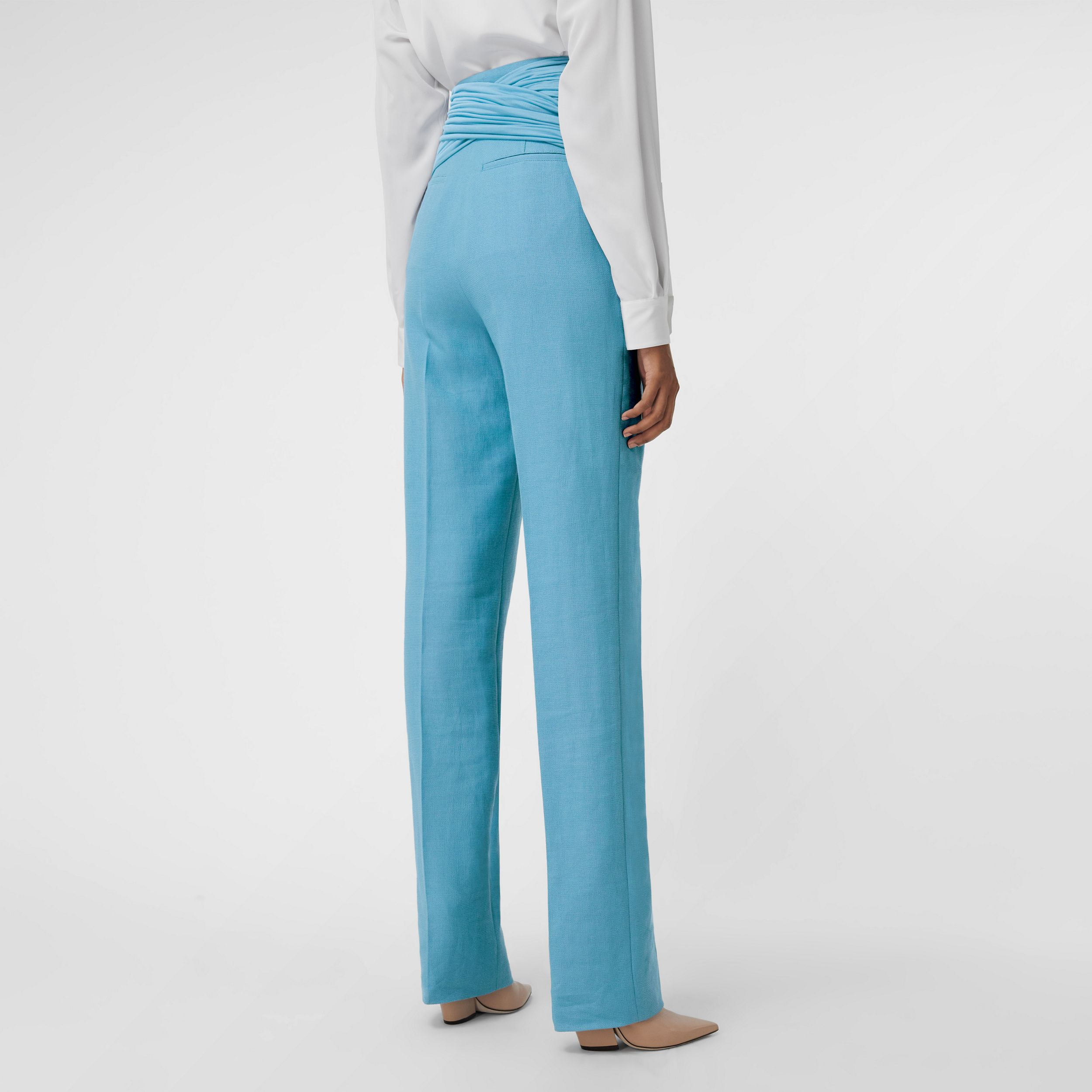 Jersey Sash Detail Wool Ramie Tailored Trousers in Blue Topaz - Women | Burberry - 3