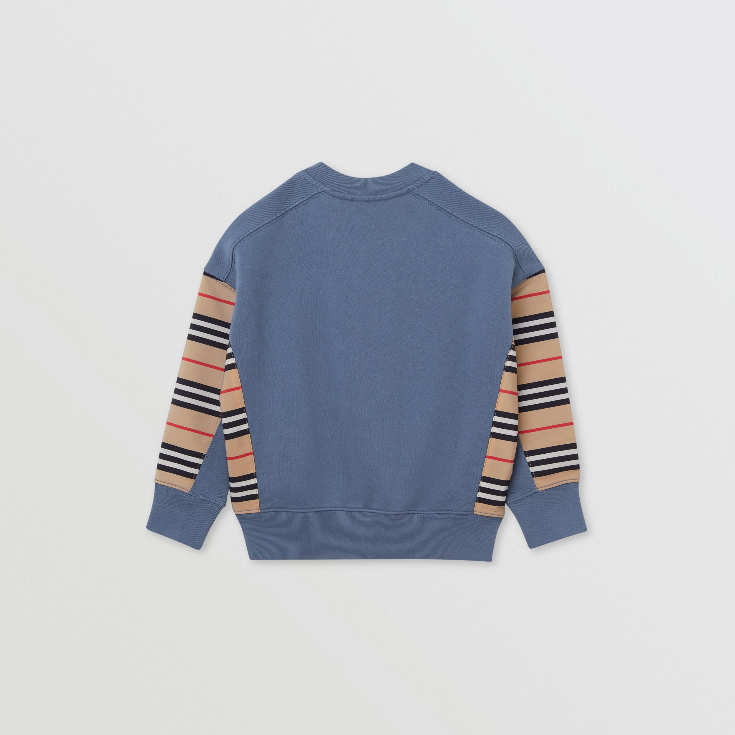 Icon Stripe Panel Cotton Sweatshirt in Steel Blue | Burberry - 4