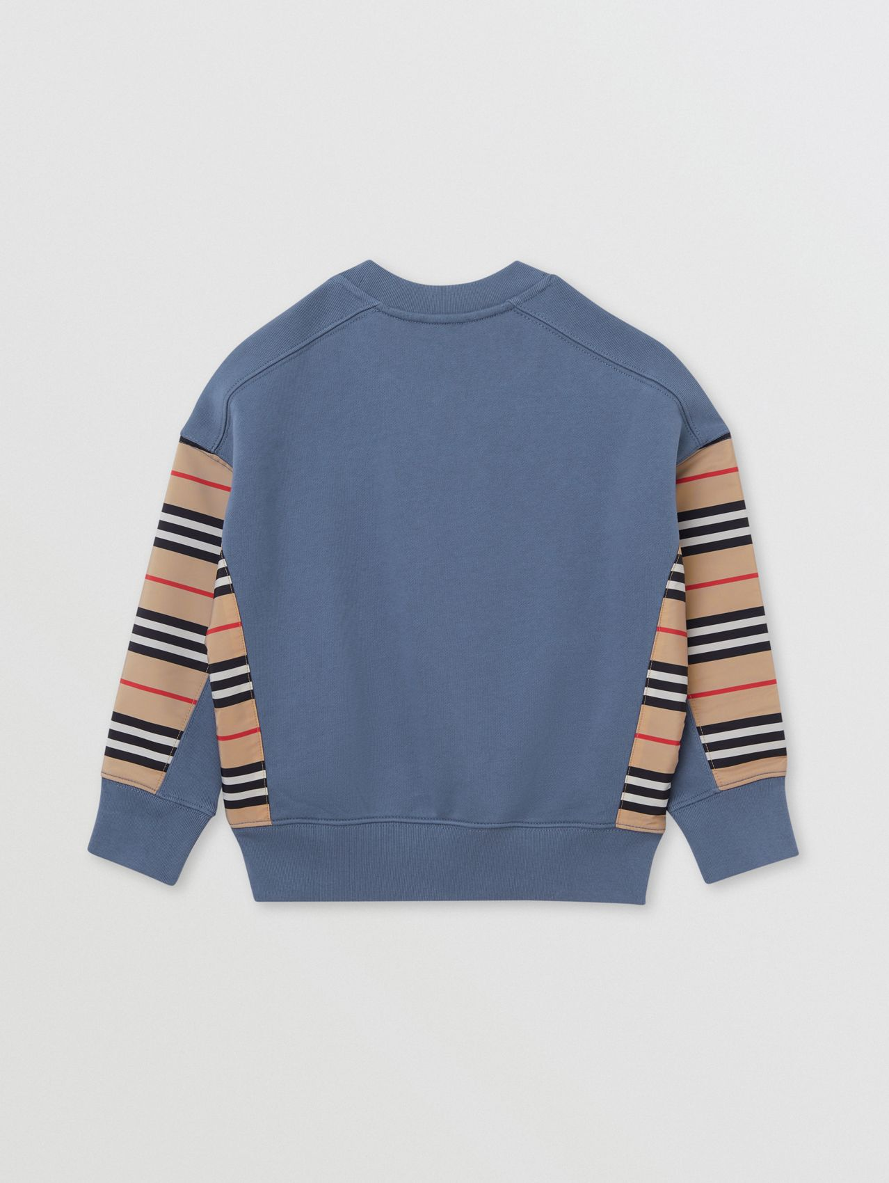 Icon Stripe Panel Cotton Sweatshirt in Steel Blue