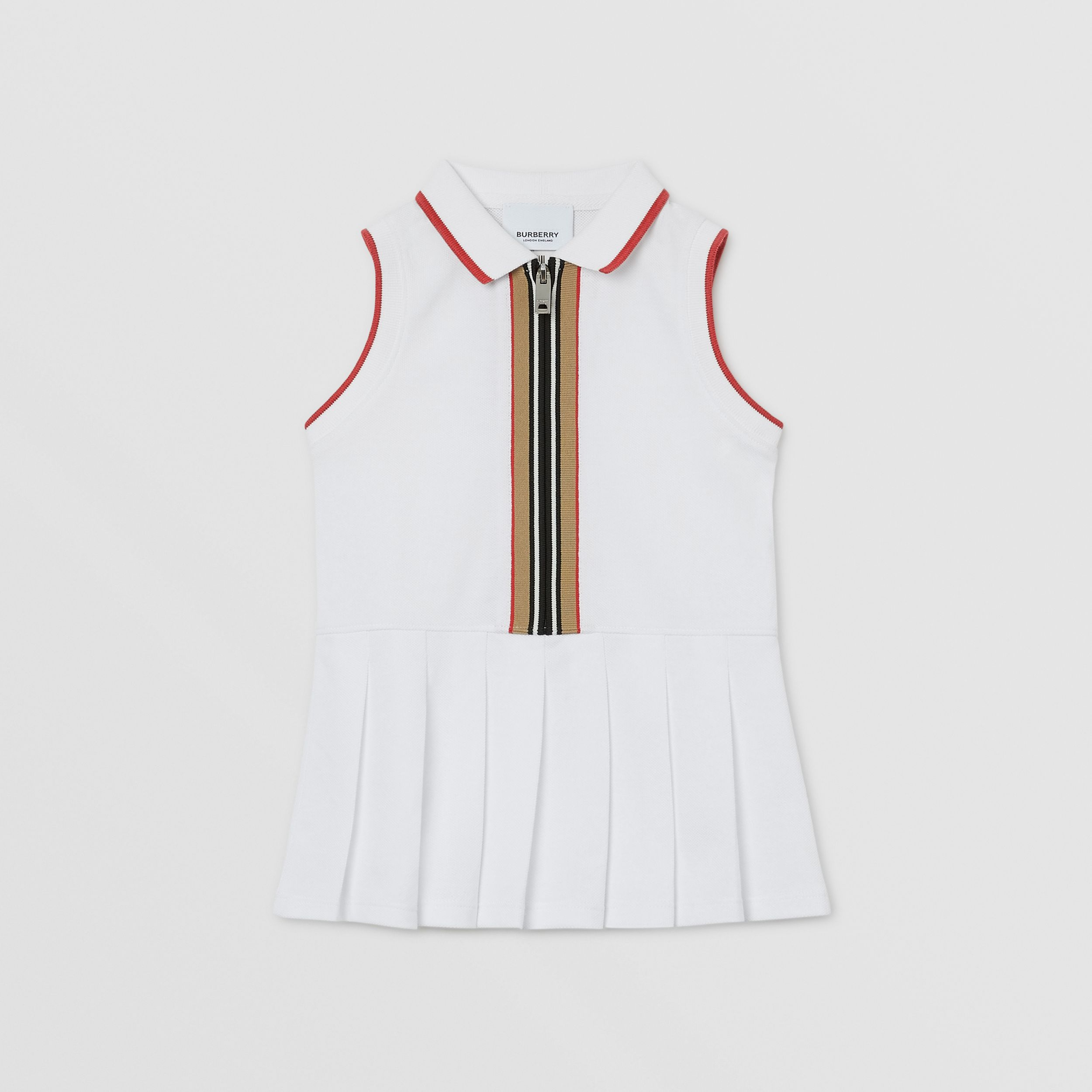 Icon Stripe Detail Cotton Zip-front Polo Dress in White - Children | Burberry United Kingdom - 1