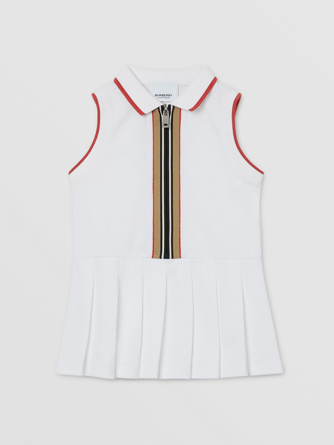 Icon Stripe Detail Cotton Zip-front Polo Dress in White