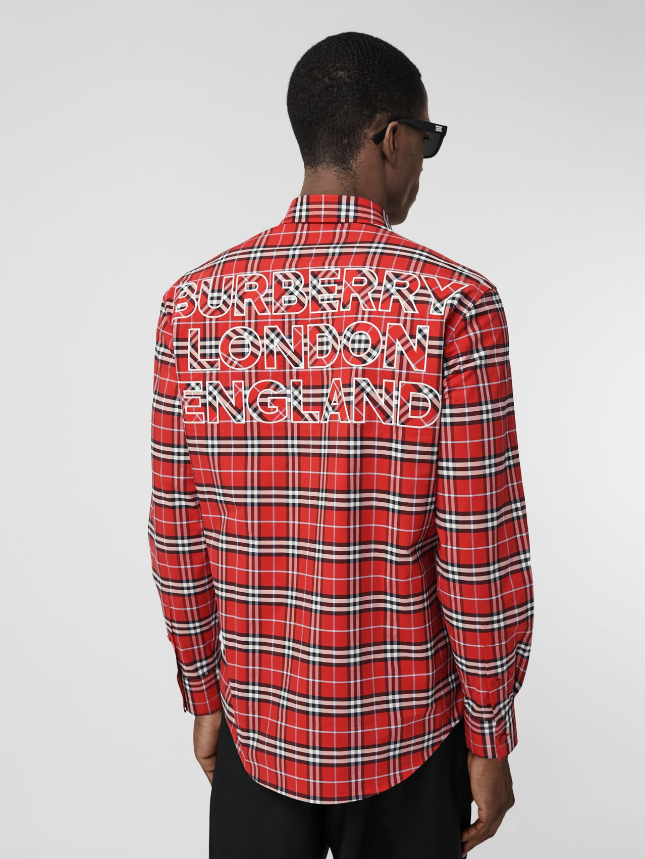 Logo Appliqué Check Stretch Cotton Shirt in Chilli Red