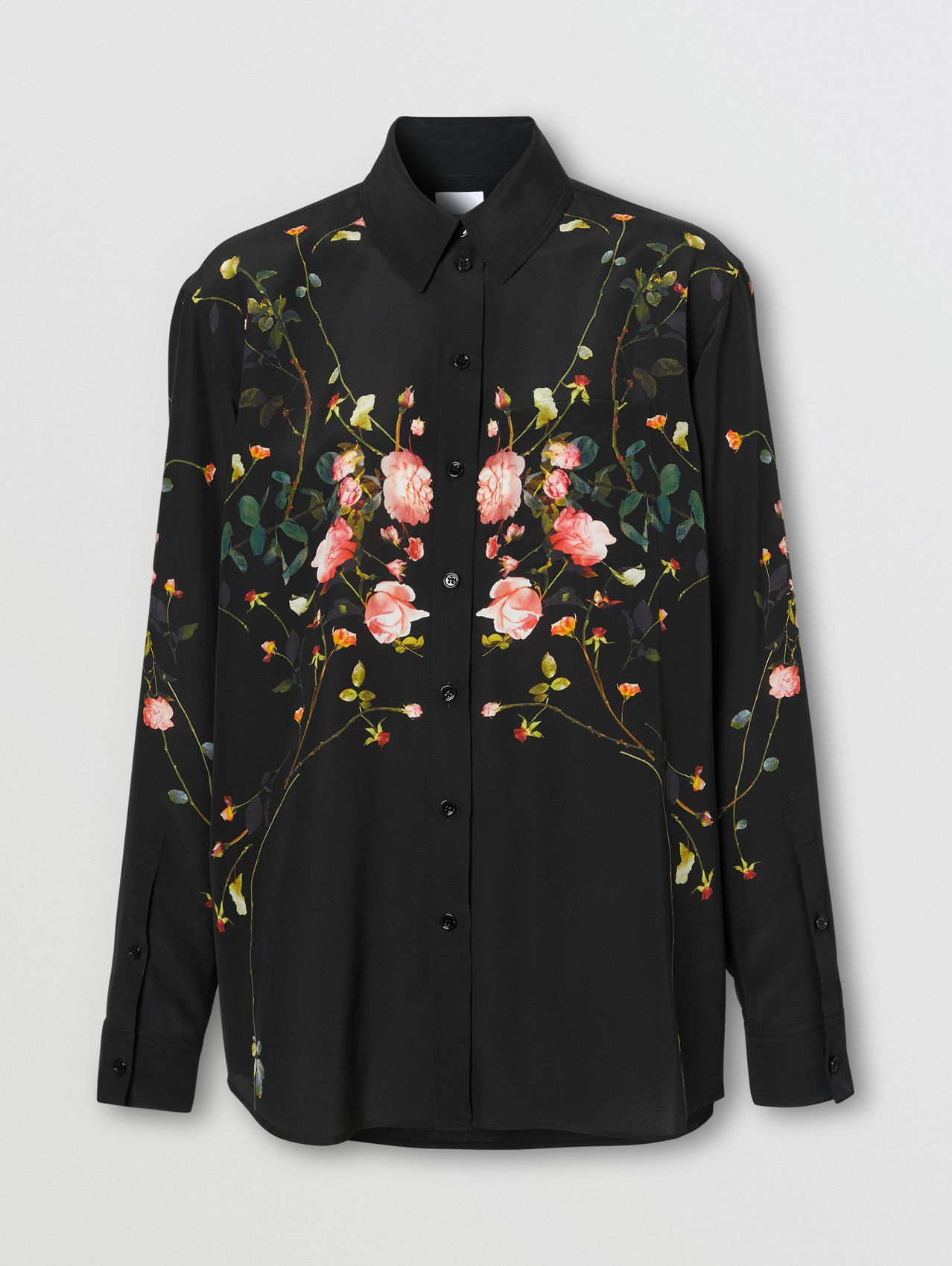 Rose Print Silk Crepe De Chine Oversized Shirt in Black