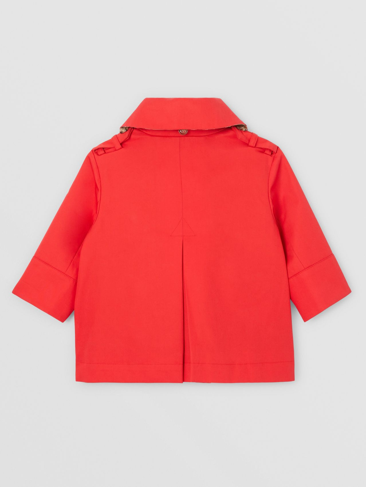 Detachable Hood Cotton Twill Trench Coat in Bright Red