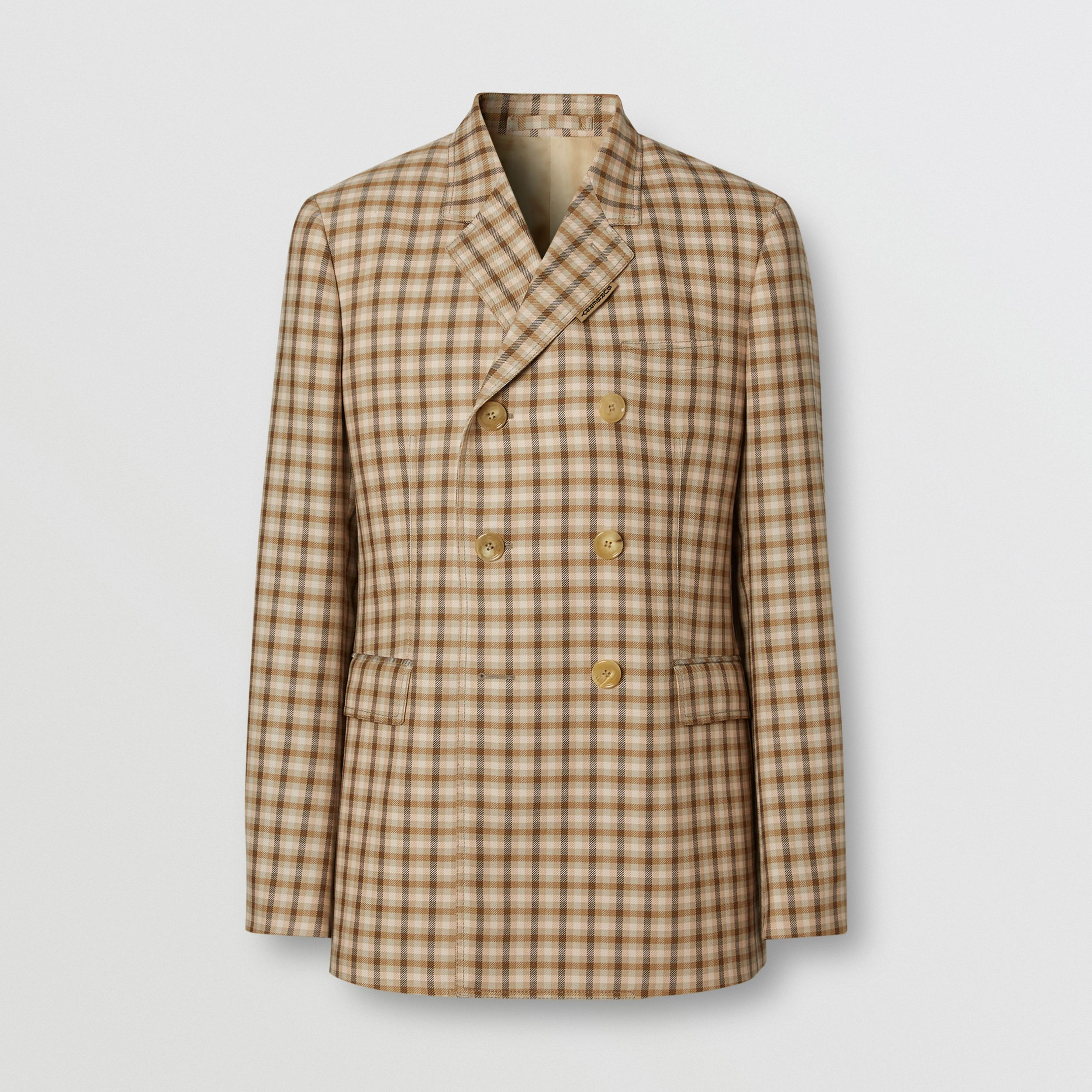 Slim Fit Gingham Wool Tailored Jacket in Soft Fawn - Men | Burberry - 4
