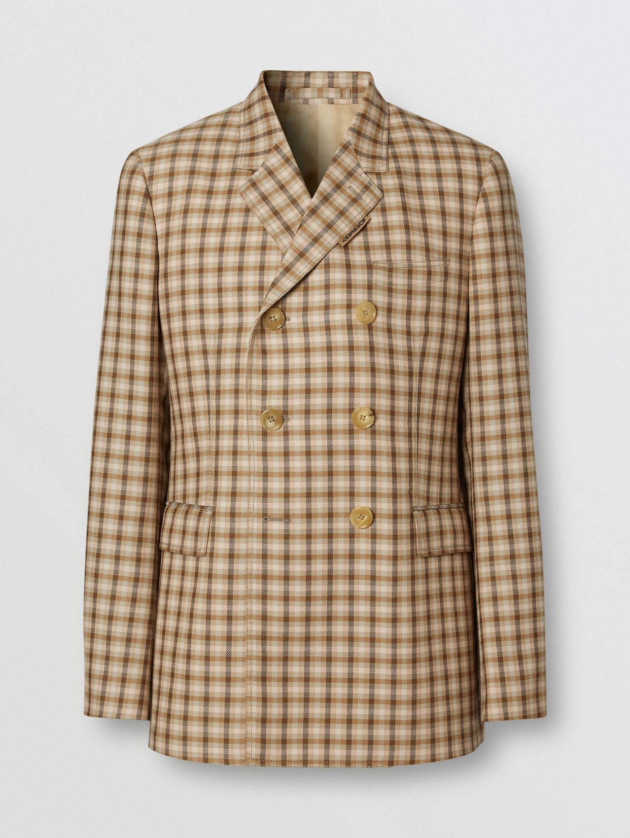 Slim Fit Gingham Wool Tailored Jacket in Soft Fawn