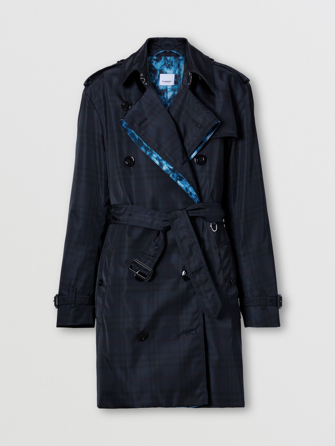 Vintage Check Technical Loop-back Trench Coat in Black