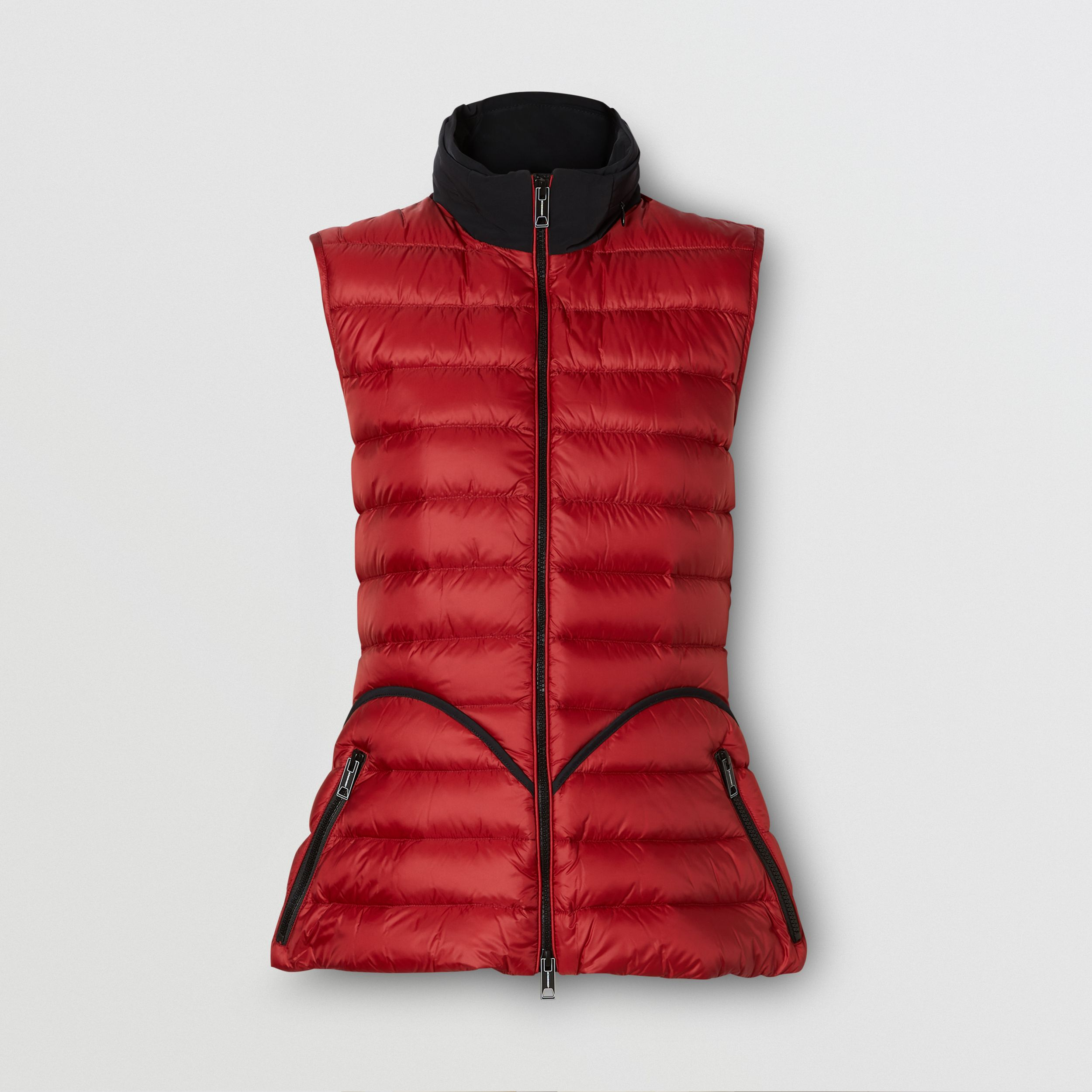 Packaway Hood Peplum Puffer Gilet in Dark Carmine - Women | Burberry - 4