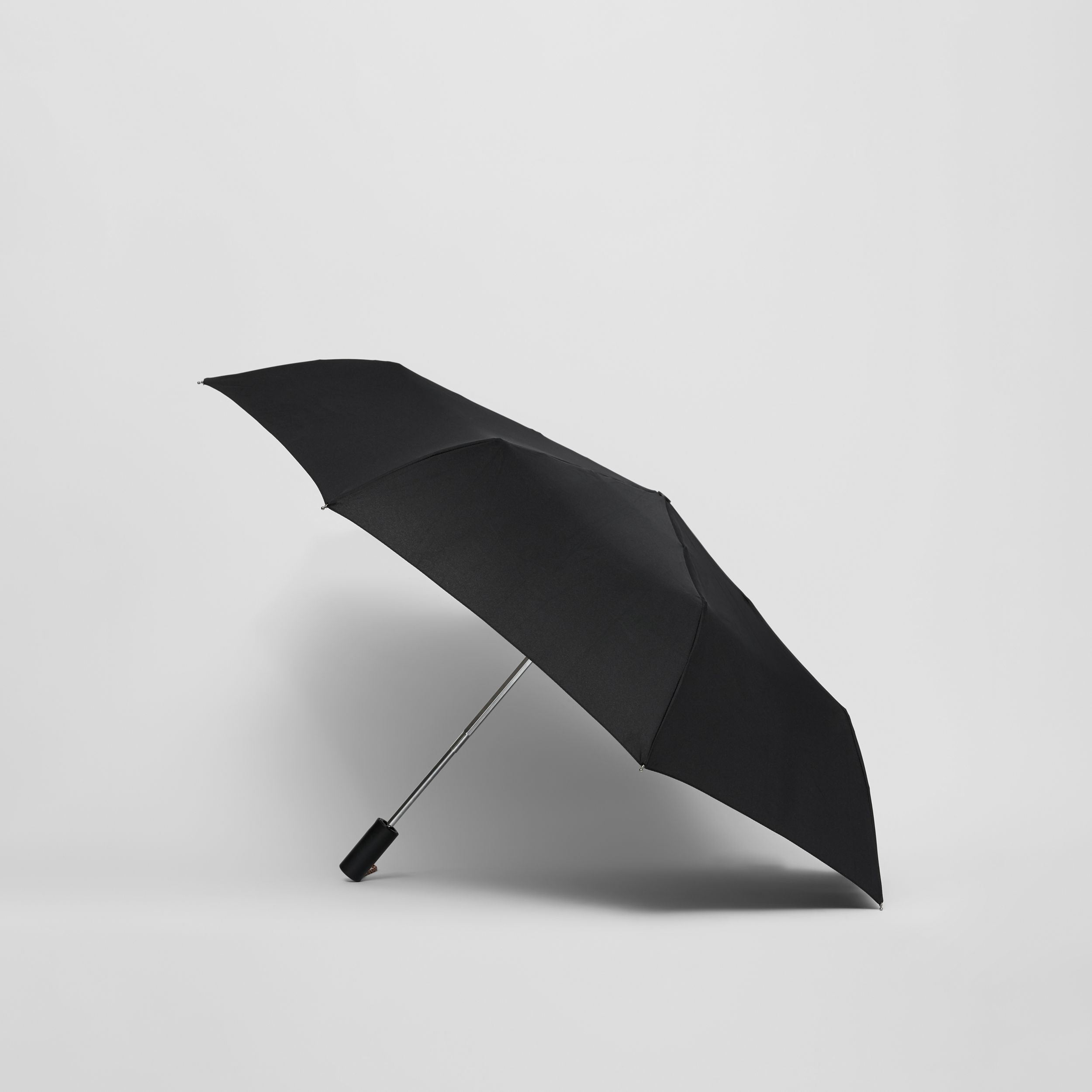 Logo Print Folding Umbrella in Black | Burberry - 4