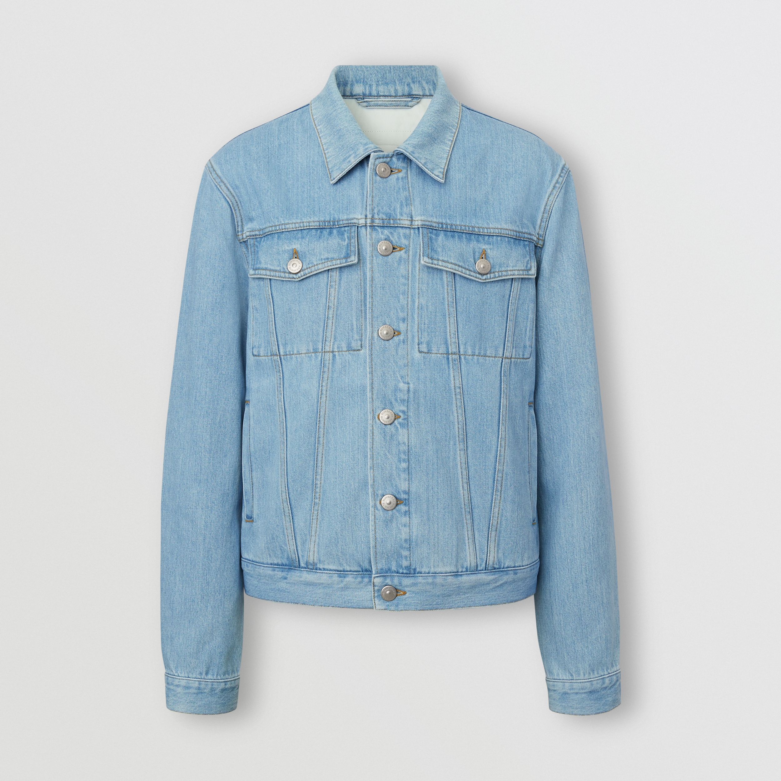 Logo Appliqué Japanese Denim Jacket in Light Indigo Blue - Men | Burberry - 1