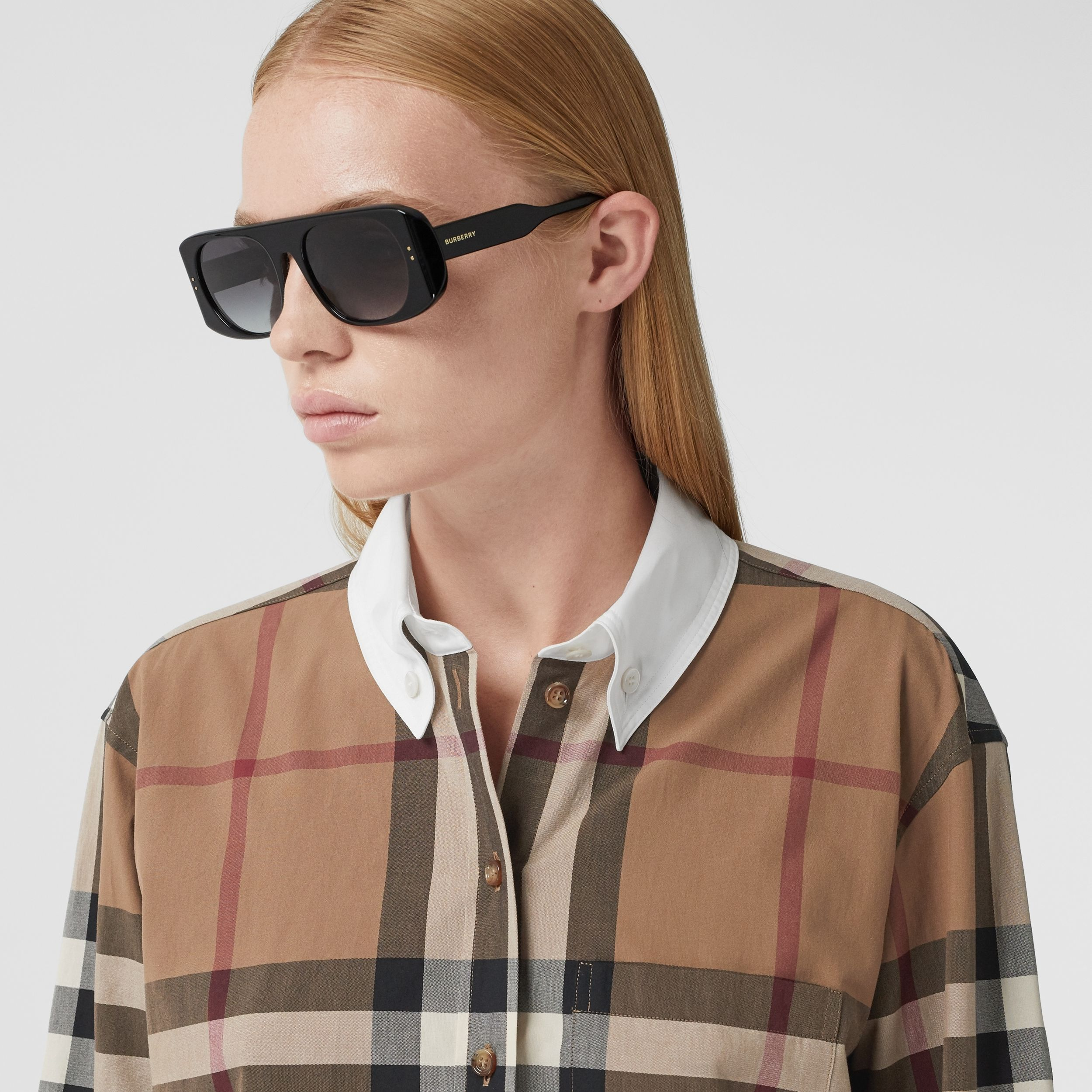 Check Cotton Poplin Oversized Shirt in Birch Brown - Women | Burberry Canada - 2