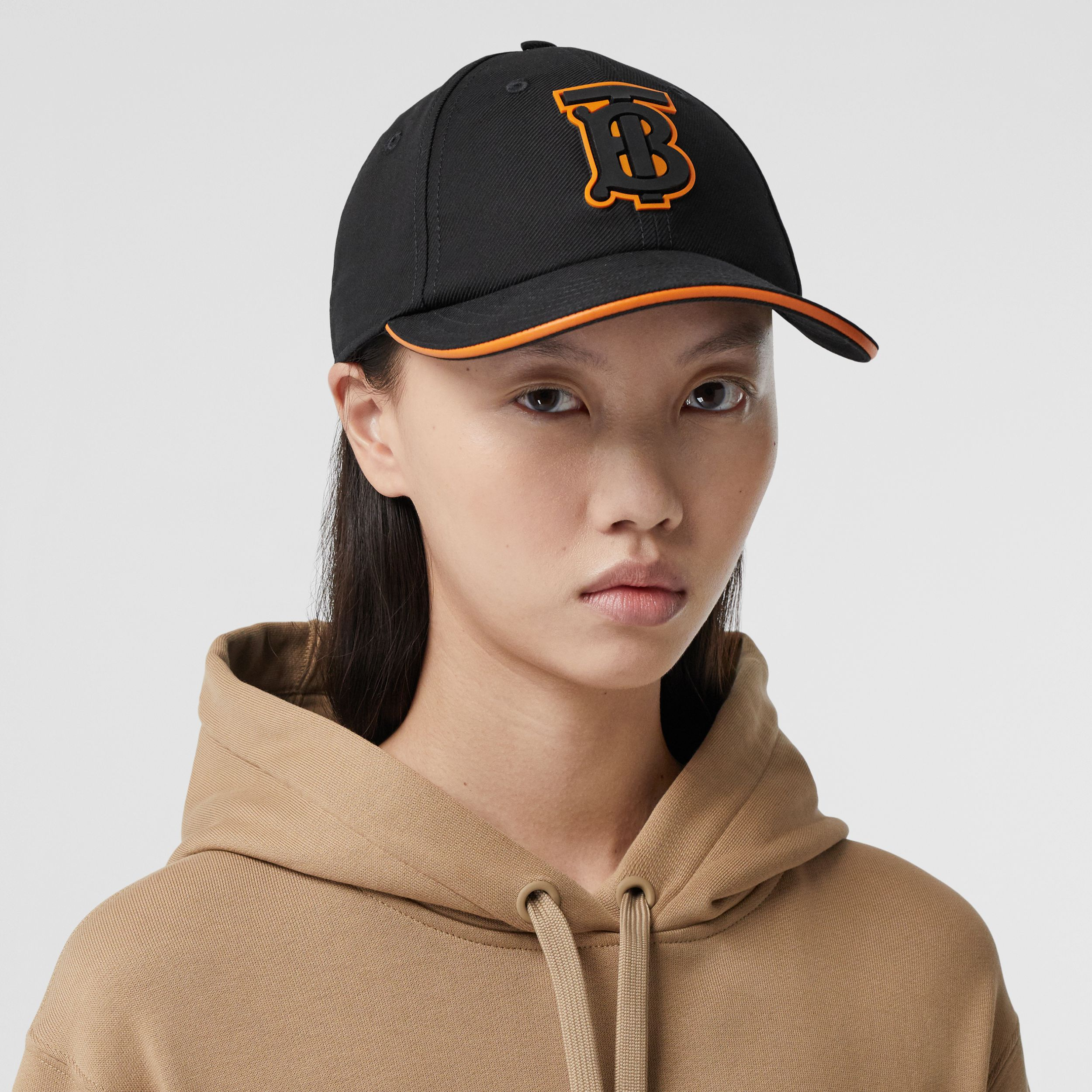 Monogram Motif Cotton Baseball Cap in Black | Burberry - 3