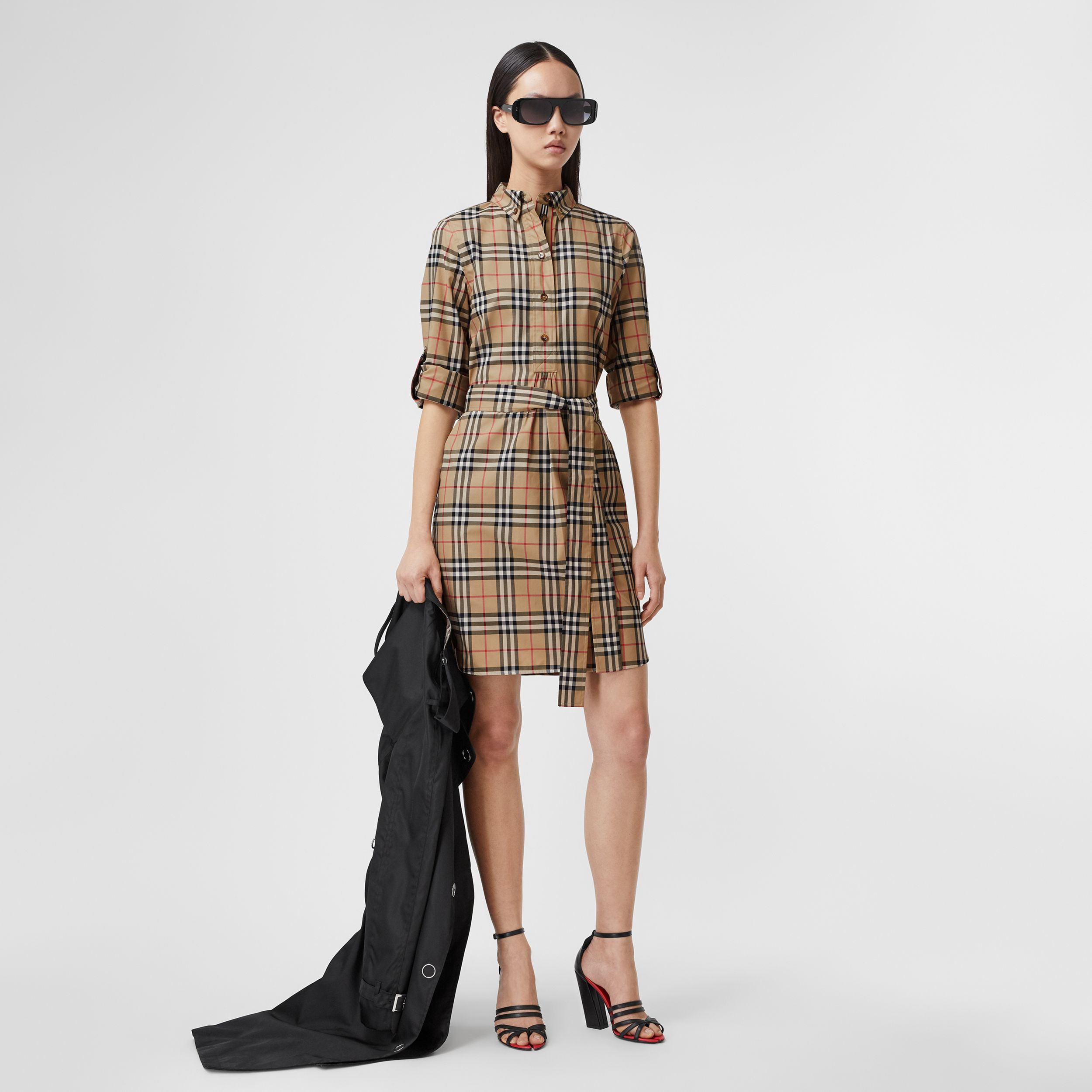 Vintage Check Stretch Cotton Tie-waist Shirt Dress in Archive Beige - Women | Burberry - 1